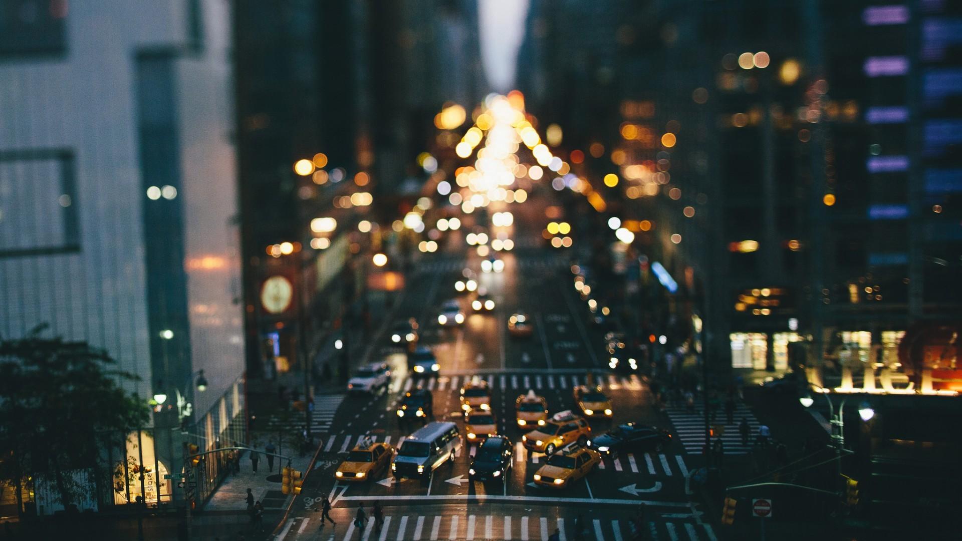 1920x1080 Px Car New York City Street Taxi Tilt Shift Traffic