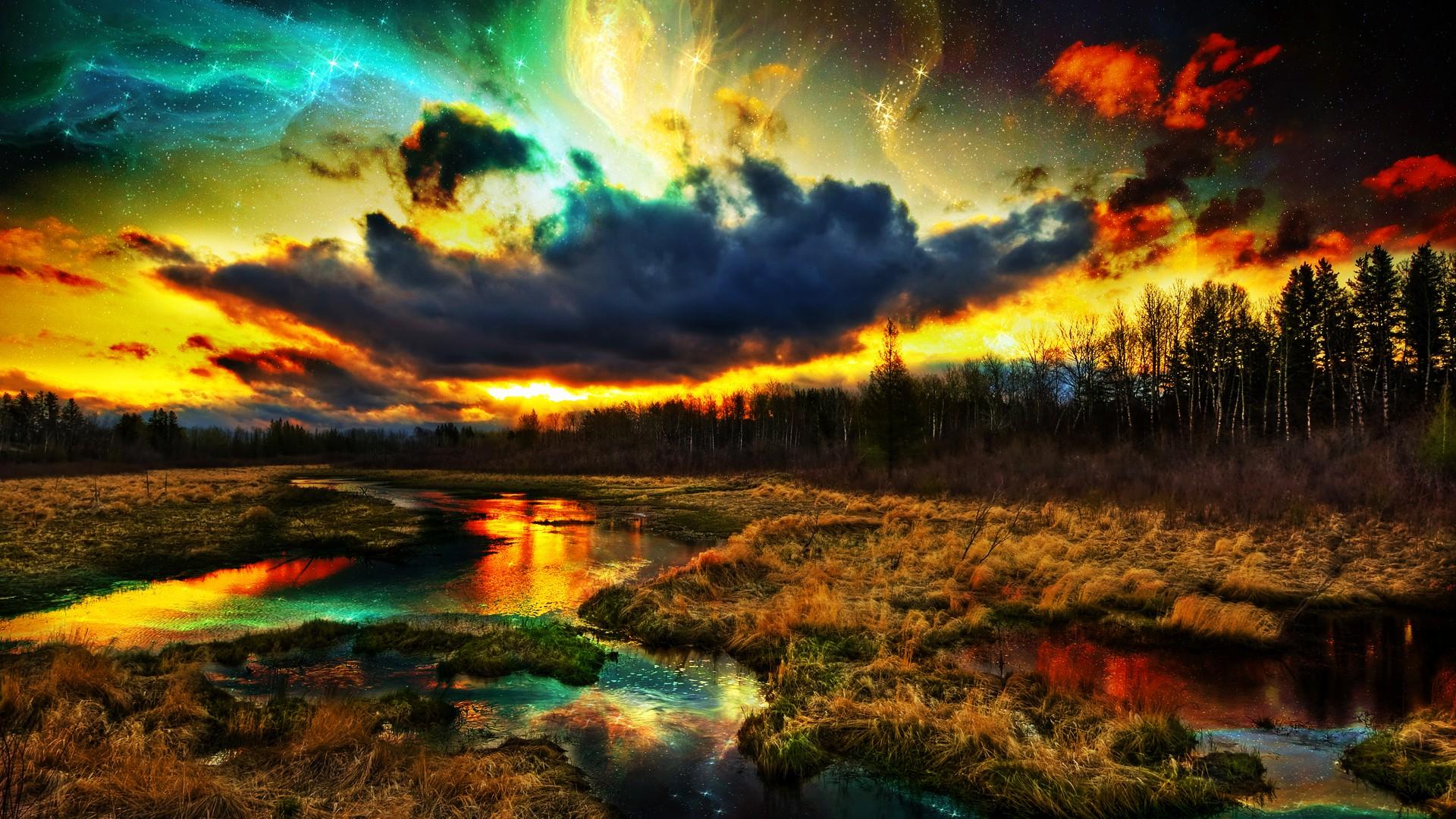 Colourful Fantasy Cloud Backgrounds: Wallpaper : 1920x1080 Px, Clouds, Colorful, Digital Art