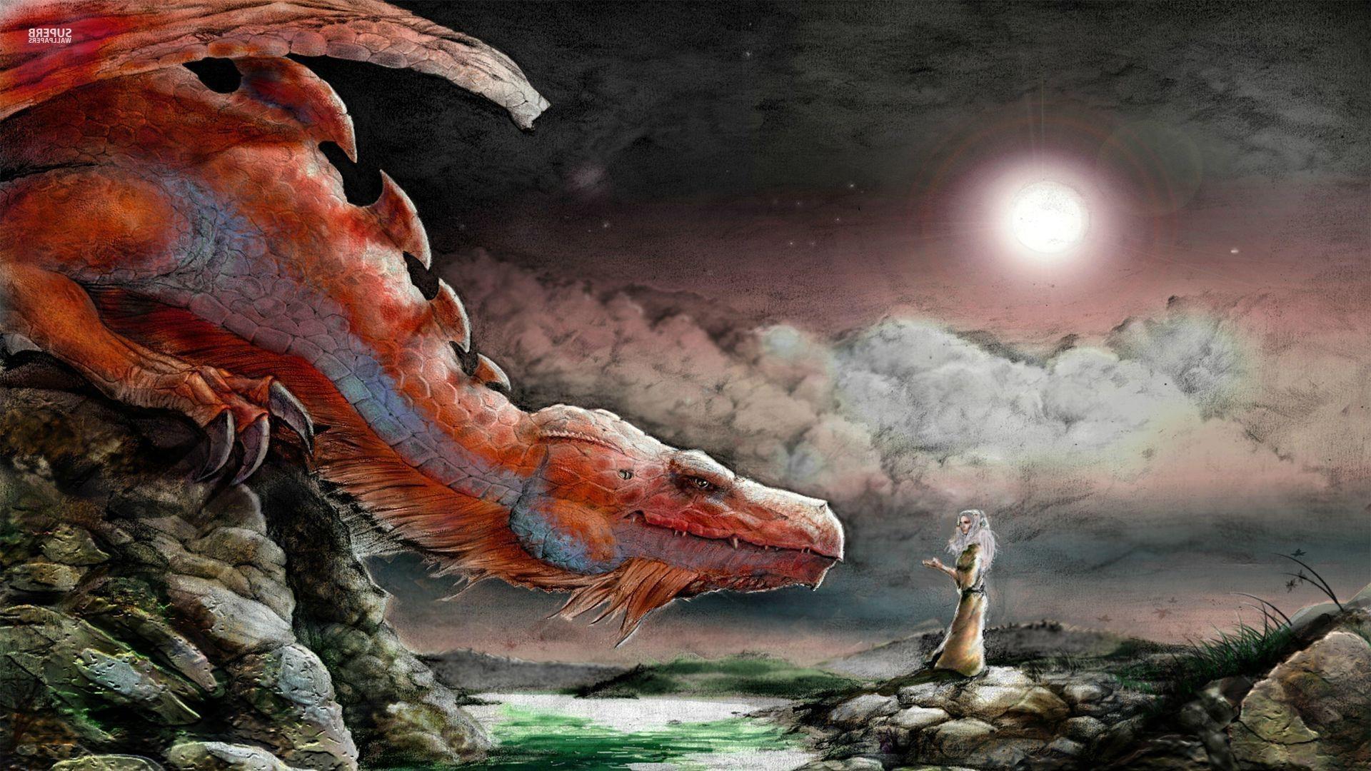 Wallpaper 1920x1080 px clouds digital art dragon - Fantasy wallpaper digital art ...