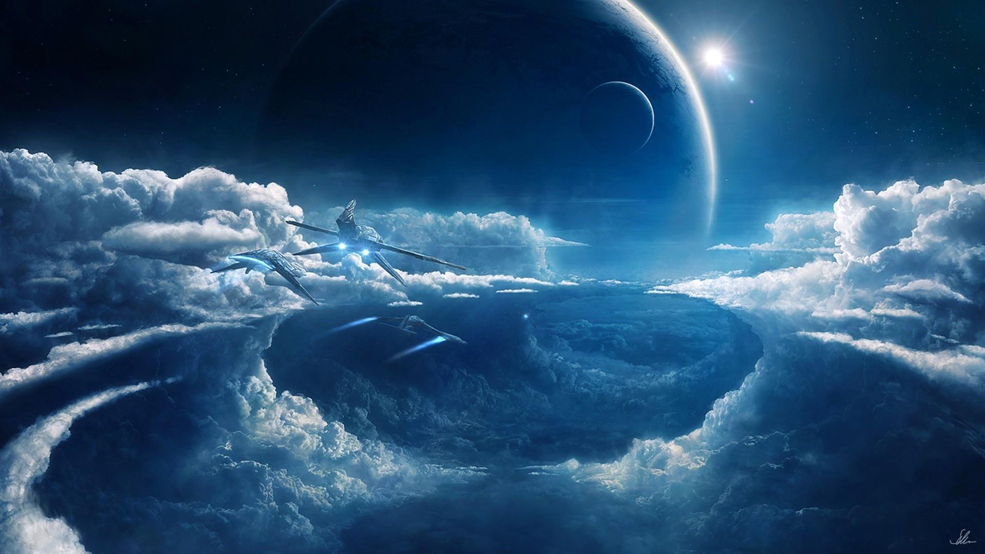Wallpaper px awan awan fi Penerbangan futuristik Bulan planet sci ilmu