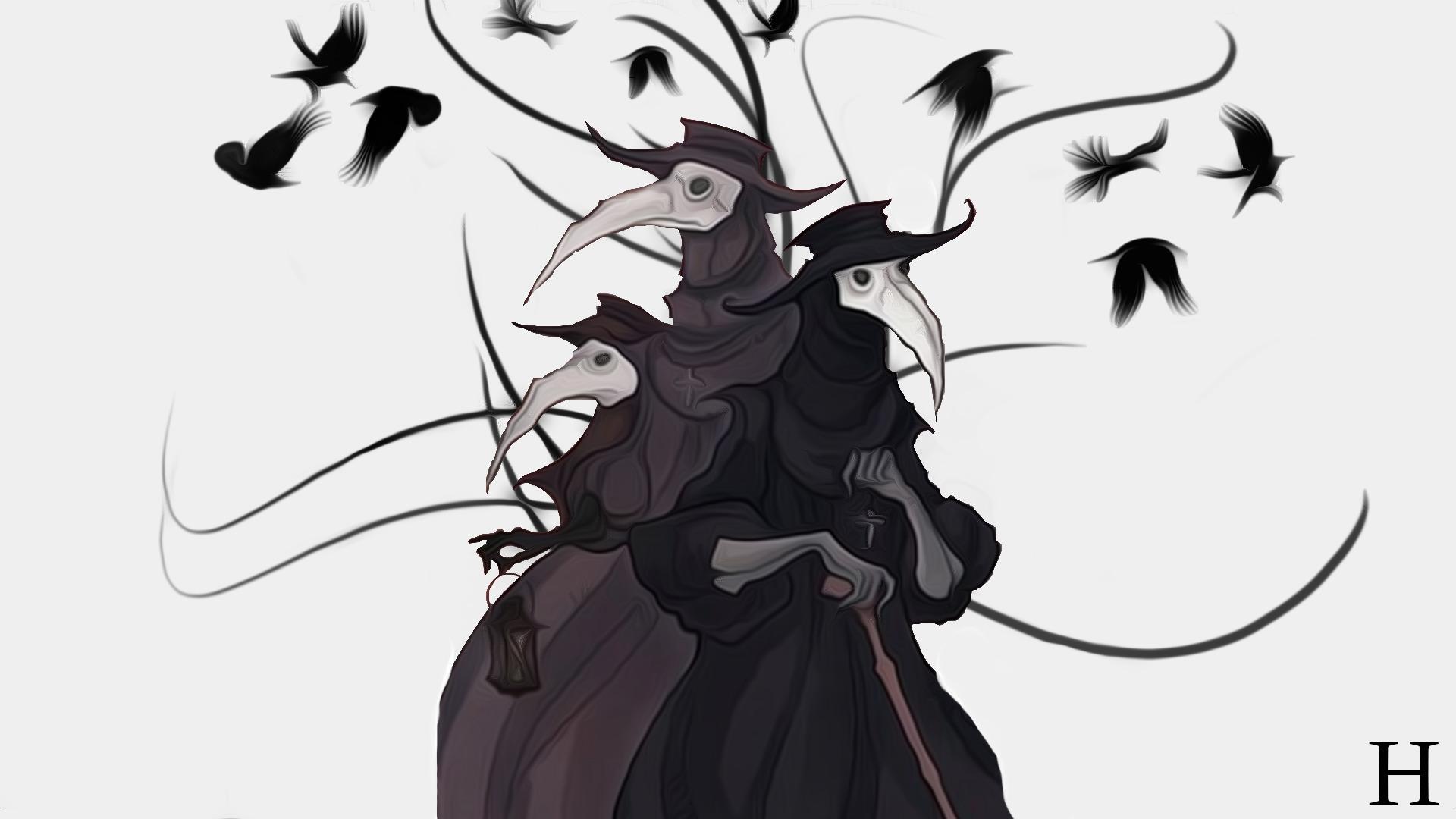 1c65e385b7cbb 1920x1080 px crow dark doctors fantasy art Plague plague doctors raven The  Crow the Darkness