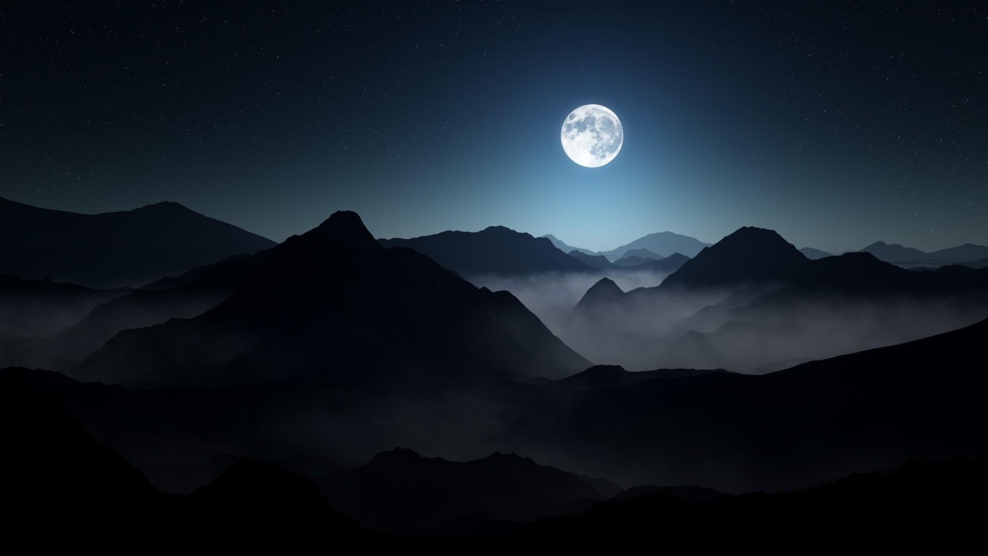 wallpaper 1920x1080 px dark landscape mist moon moonlight