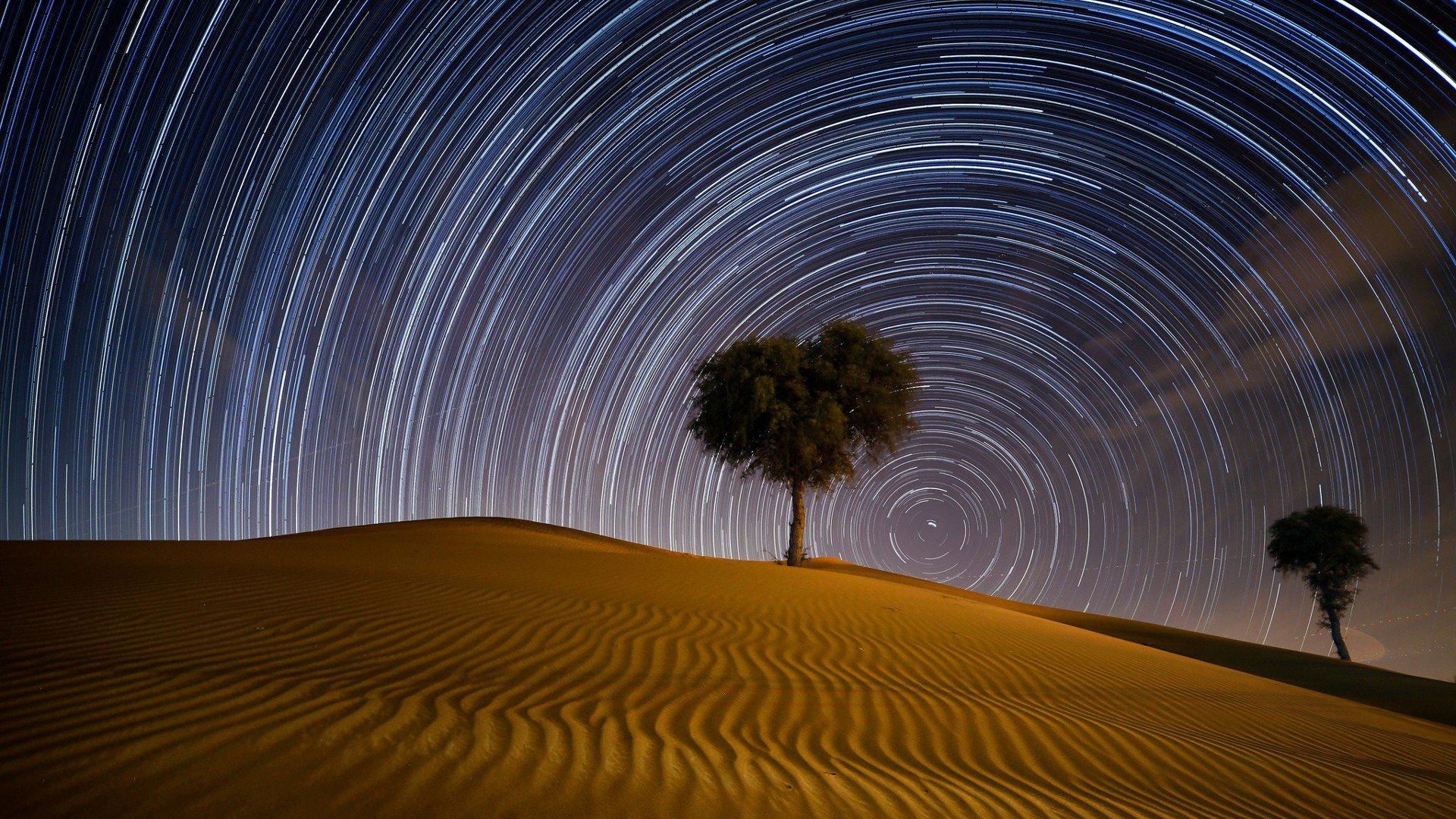 wallpaper : 1920x1080 px, desert, dubai, night, star trails