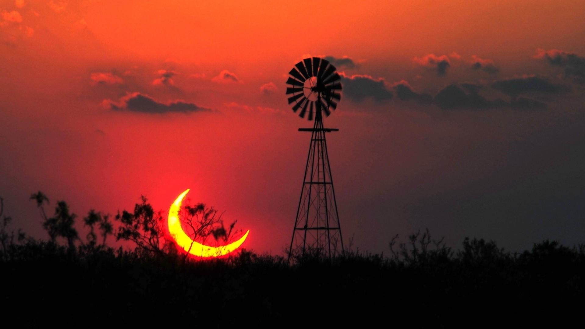 Wallpaper 1920x1080 Px Eclipse Landscape Sun Texas