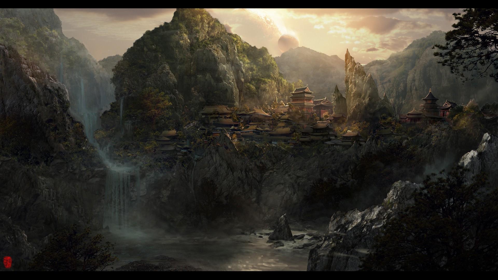 Beautiful Wallpaper Mountain Fantasy - 1920x1080-px-fantasy-art-Japan-mountain-waterfall-739906  Pic_45430.jpg