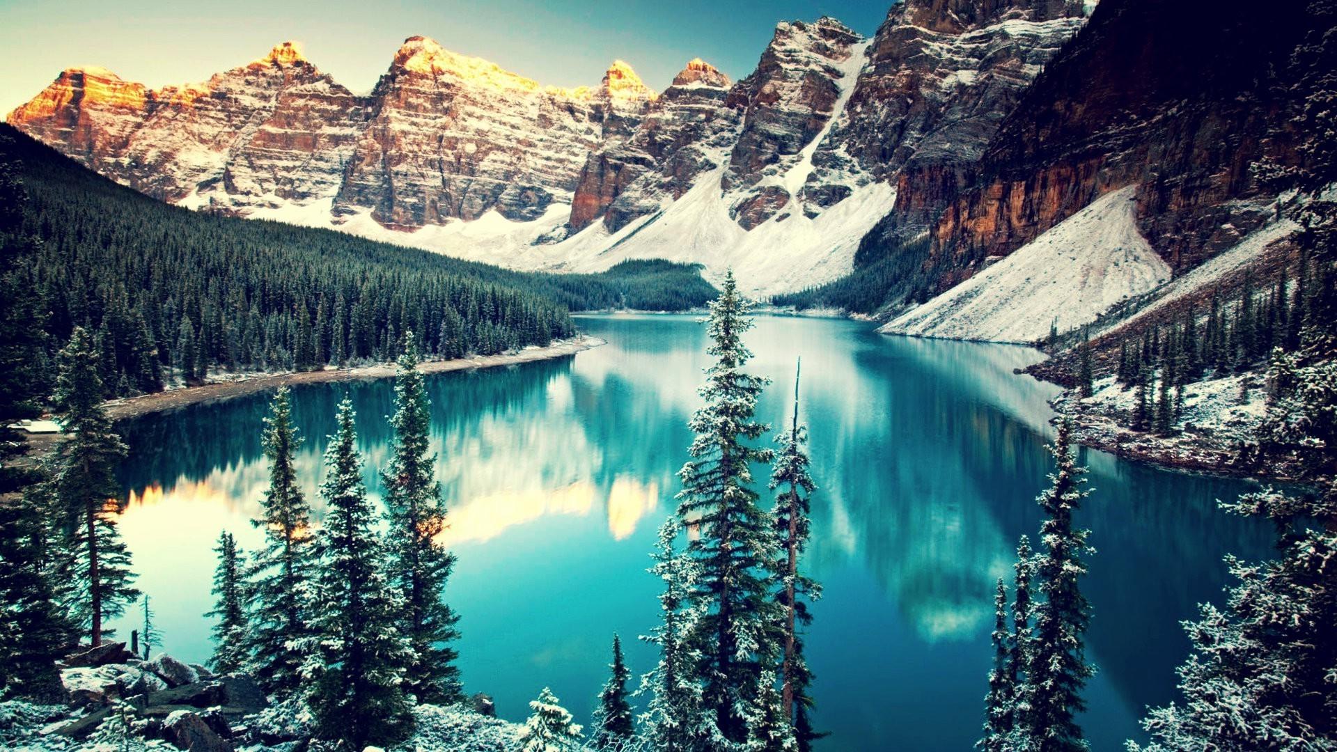 обои на рабочий стол зима в горах с озером № 201965  скачать
