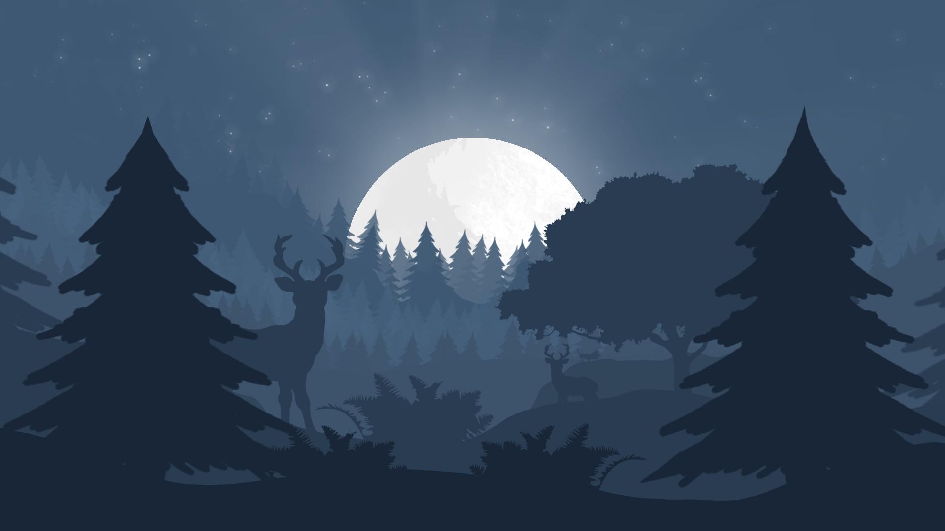 Ночной лес рисунок работе
