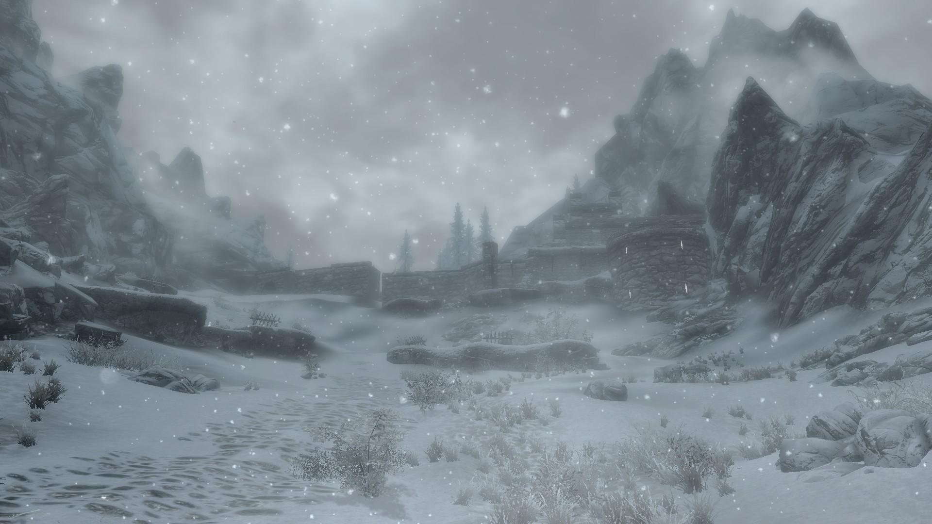 1920x1080 px fort landscape mountain snow The Elder Scrolls V Skyrim winter