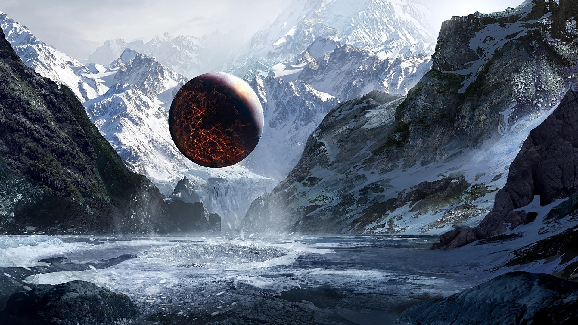 Wallpaper 1920x1080 Px Ice Mountain Planet Sphere