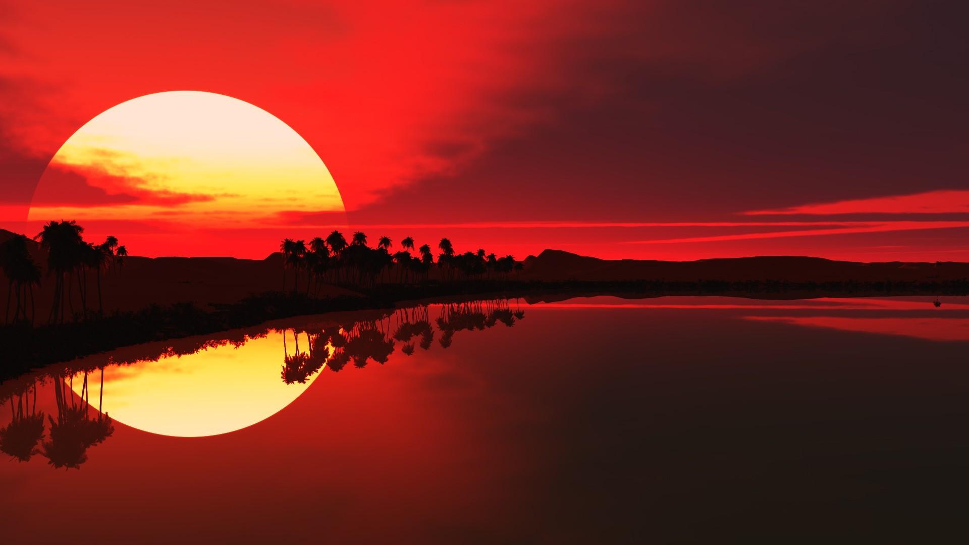 1920x1080 px nature reflection sky Sun sunlight sunset trees water