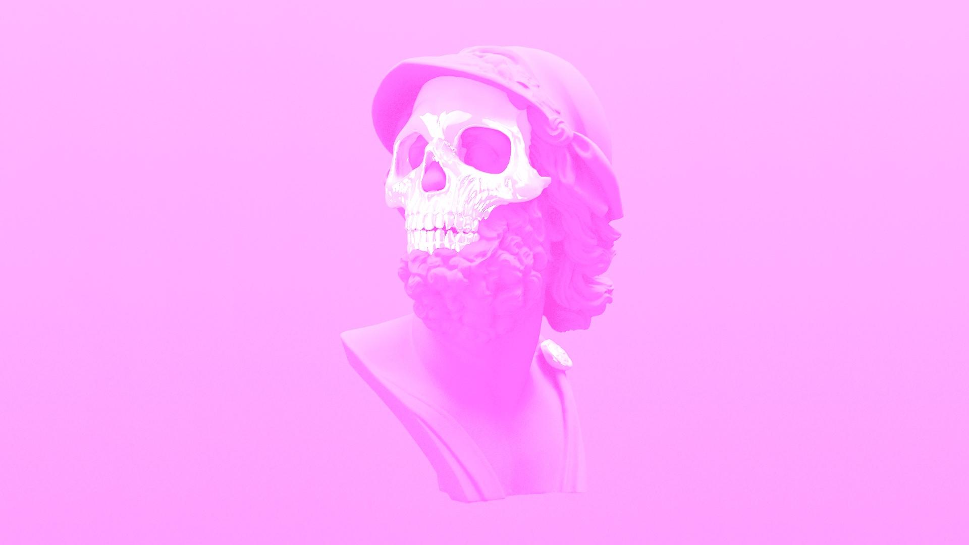 wallpaper 1920x1080 px pink skeleton skull vaporwave 1920x1080