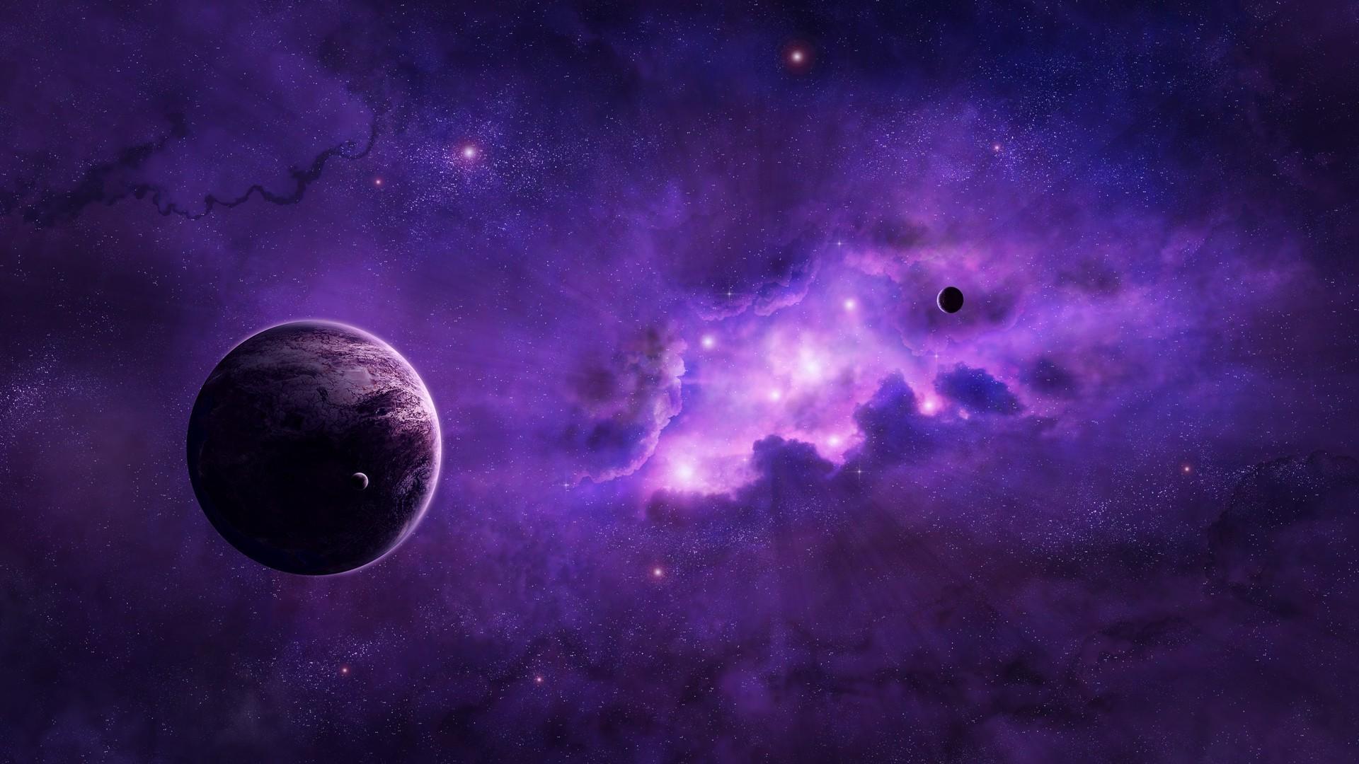 Wallpaper 1920x1080 Px Planet Purple Space Art