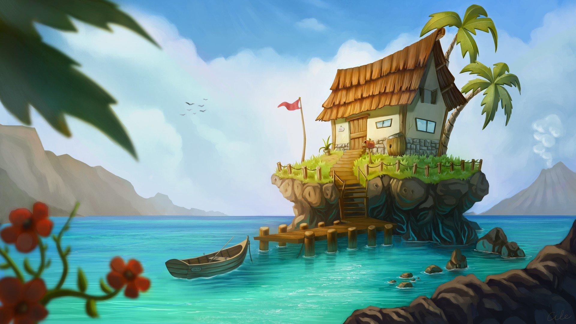этих пальм картинки остров с пальмой и хижиной тот