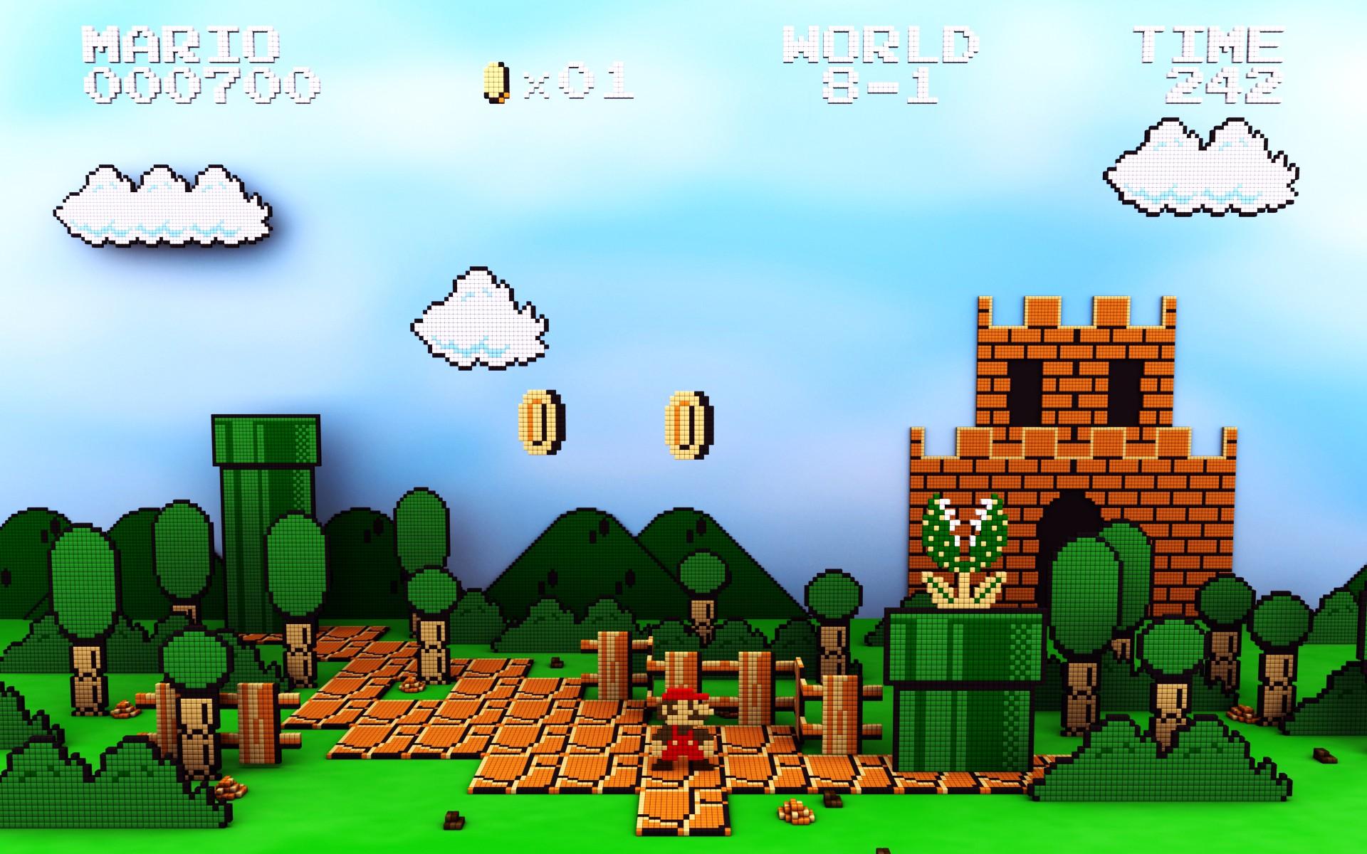 1920x1200 px 8 bit Mario Bros Nintendo Entertainment System pixel art retro games video games