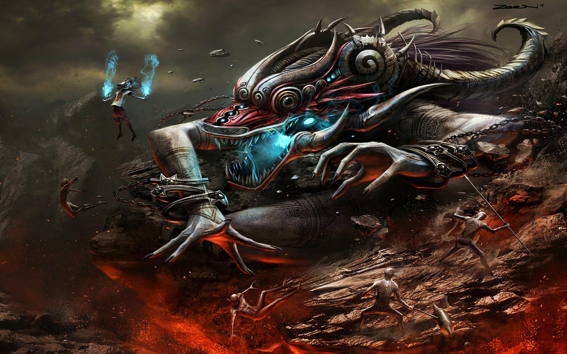 Wallpaper 1920x1200 Px Art Battles Cg Com Creature Demons