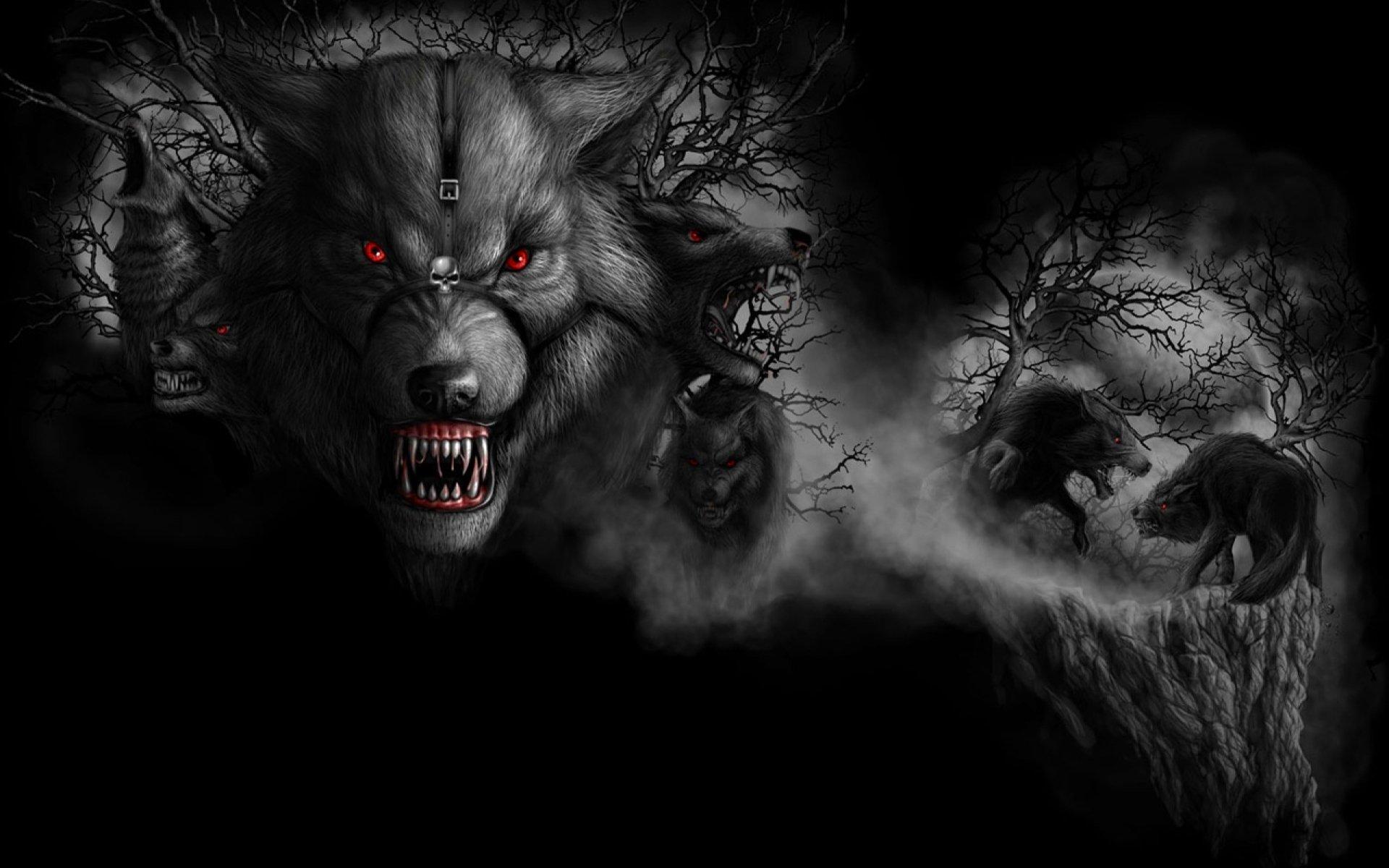 Обои на телефон волки злые