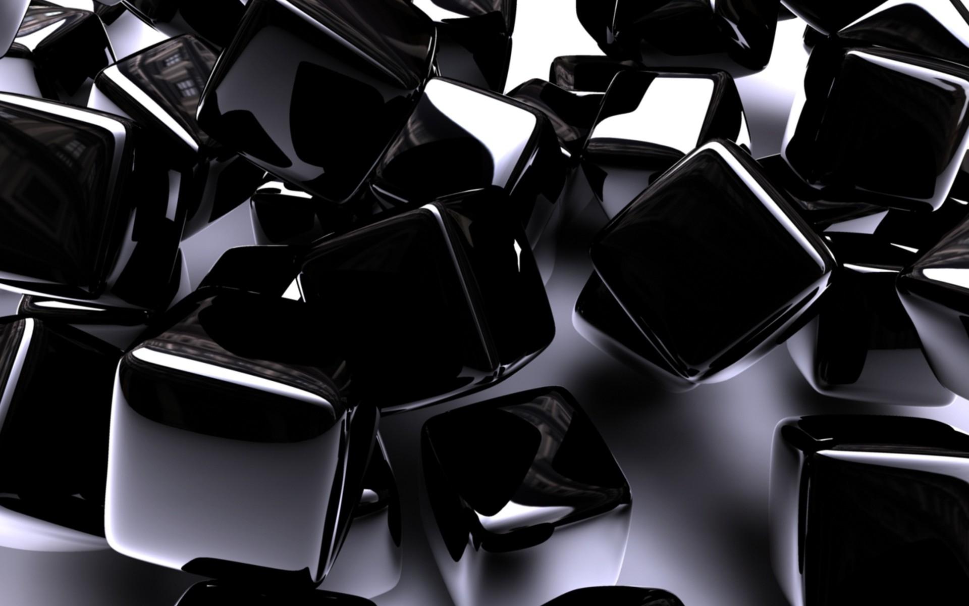 1920x1200 Px Abstract ART Black Chrome Cube Digital Pattern Shine Square