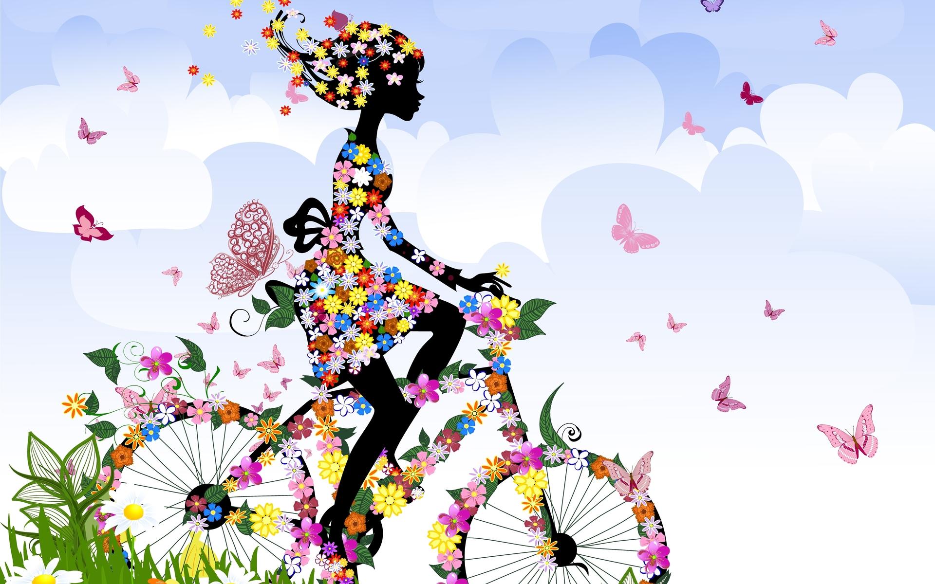 Fond D Ecran 1920 X 1200 Px Abstrait Anime Art Velo Papillon Dessin Anime Des Nuages Couleur Les Femmes Fleurs Filles Insectes Jambes Mouvement Equitation Saisons Ciel Printemps Style Vecteur Vehicules 1920x1200