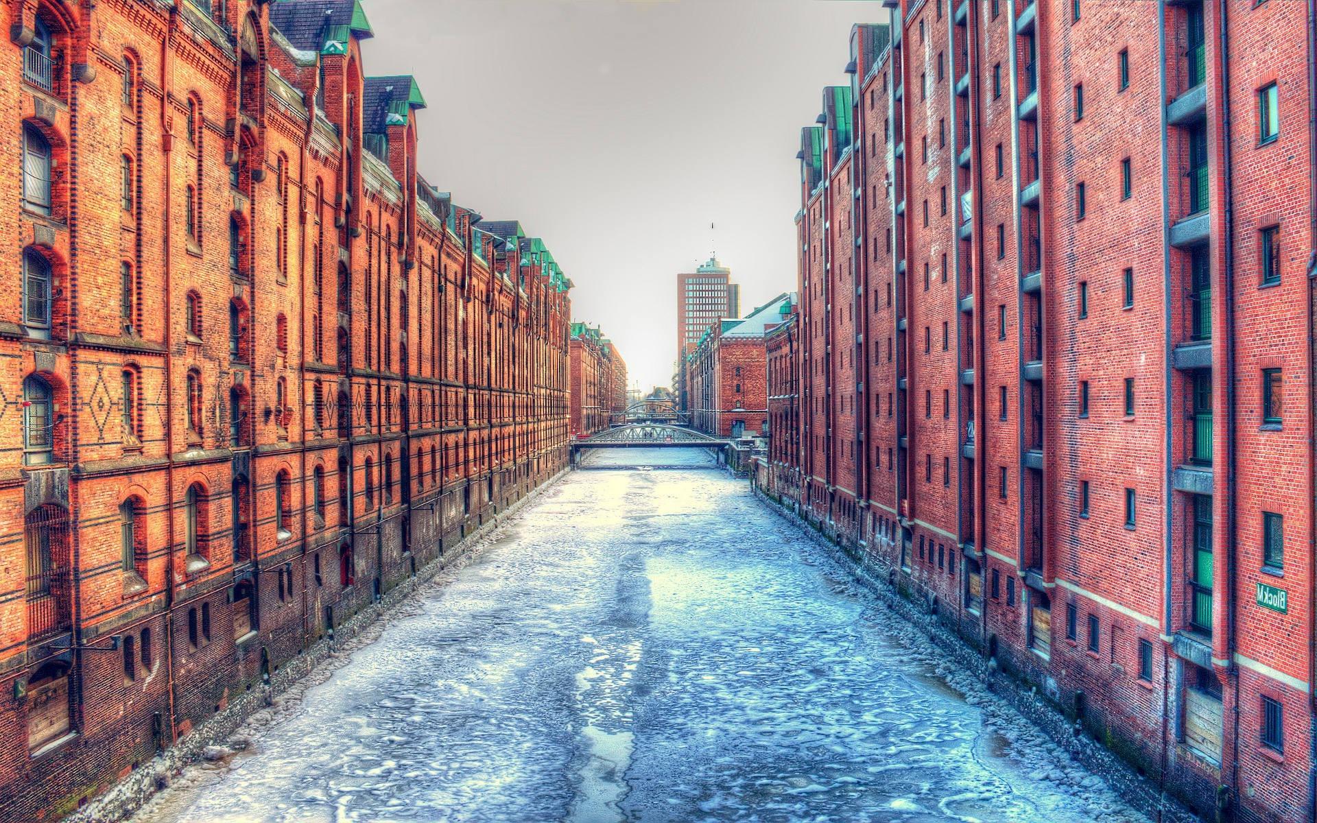 1920x1200 Px Architecture Bricks Bridge Building City Cityscape Dock Frozen River Germany Hamburg HDR Ice Old