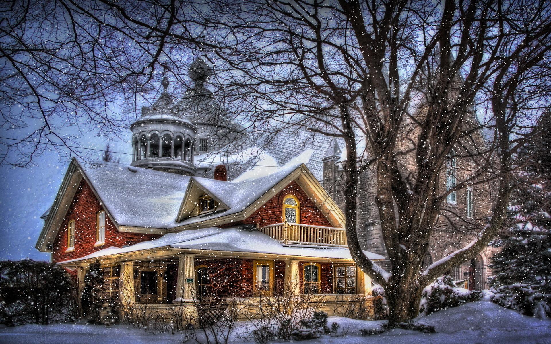 картинка домика в снегу крупный вид всех