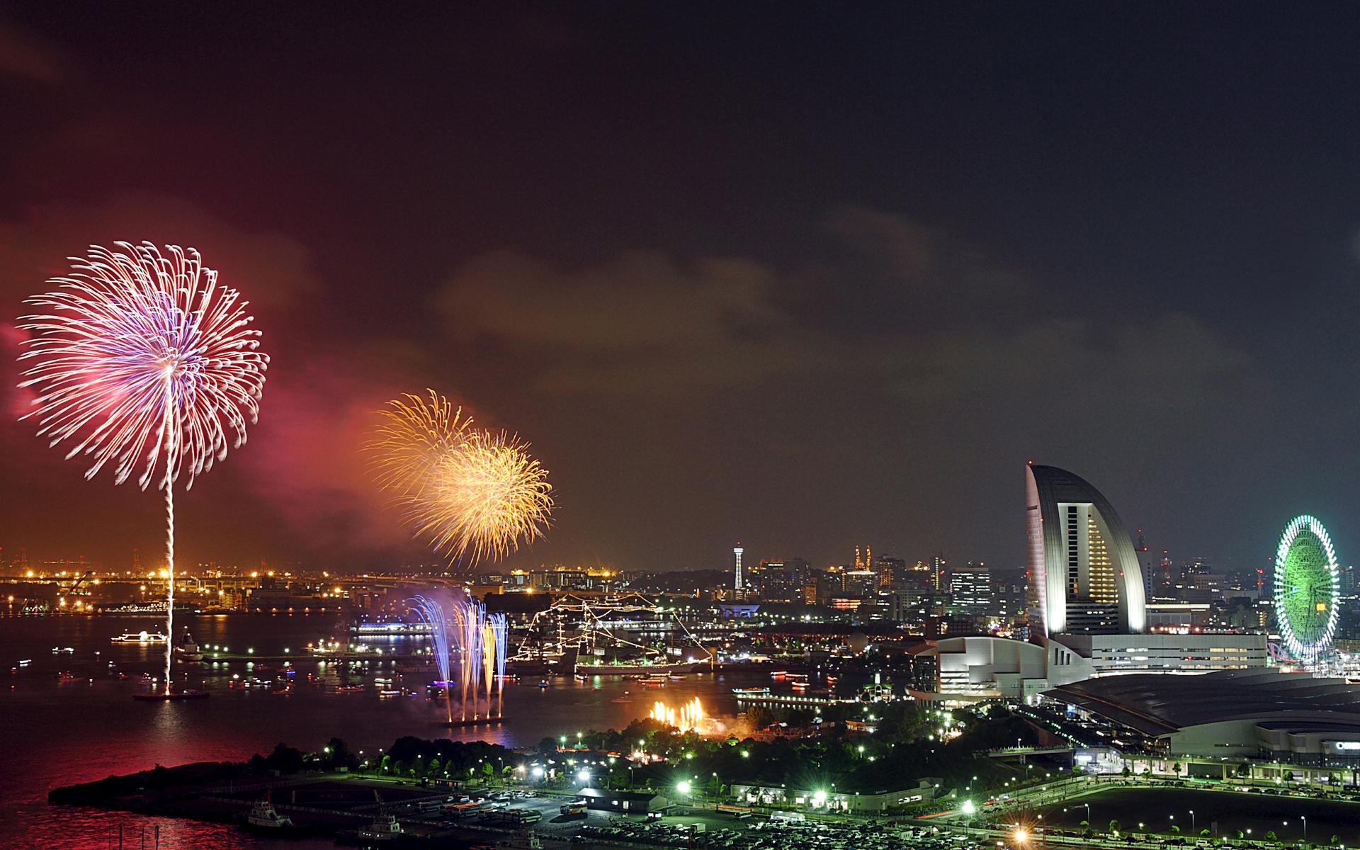 1920x1200 px architecture buildings celebration cities fireworks holidays japan kanagawa lights new year night sky world