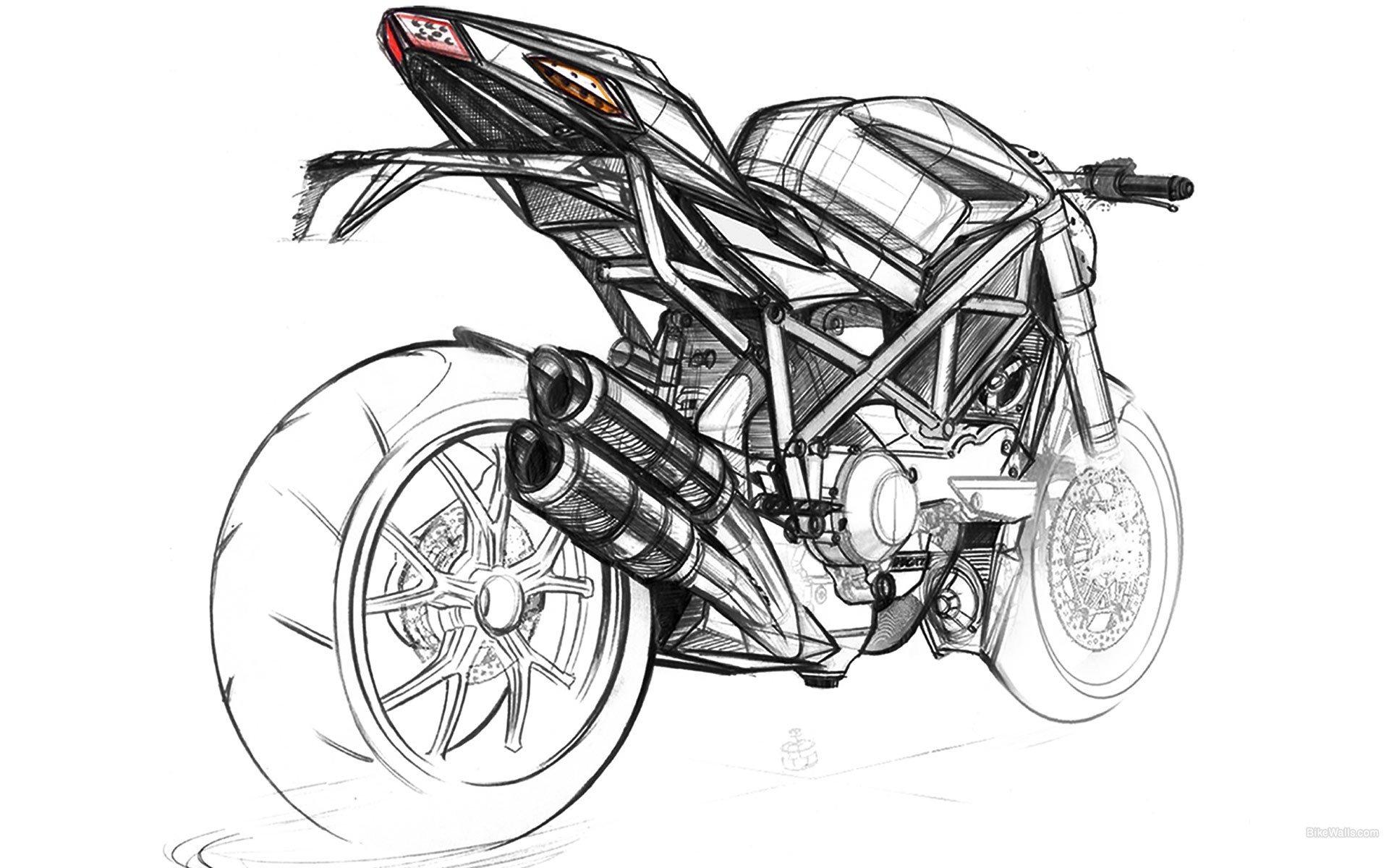 есть рисунки карандашом черно белые мотоцикла цвет автомобиля бежевый