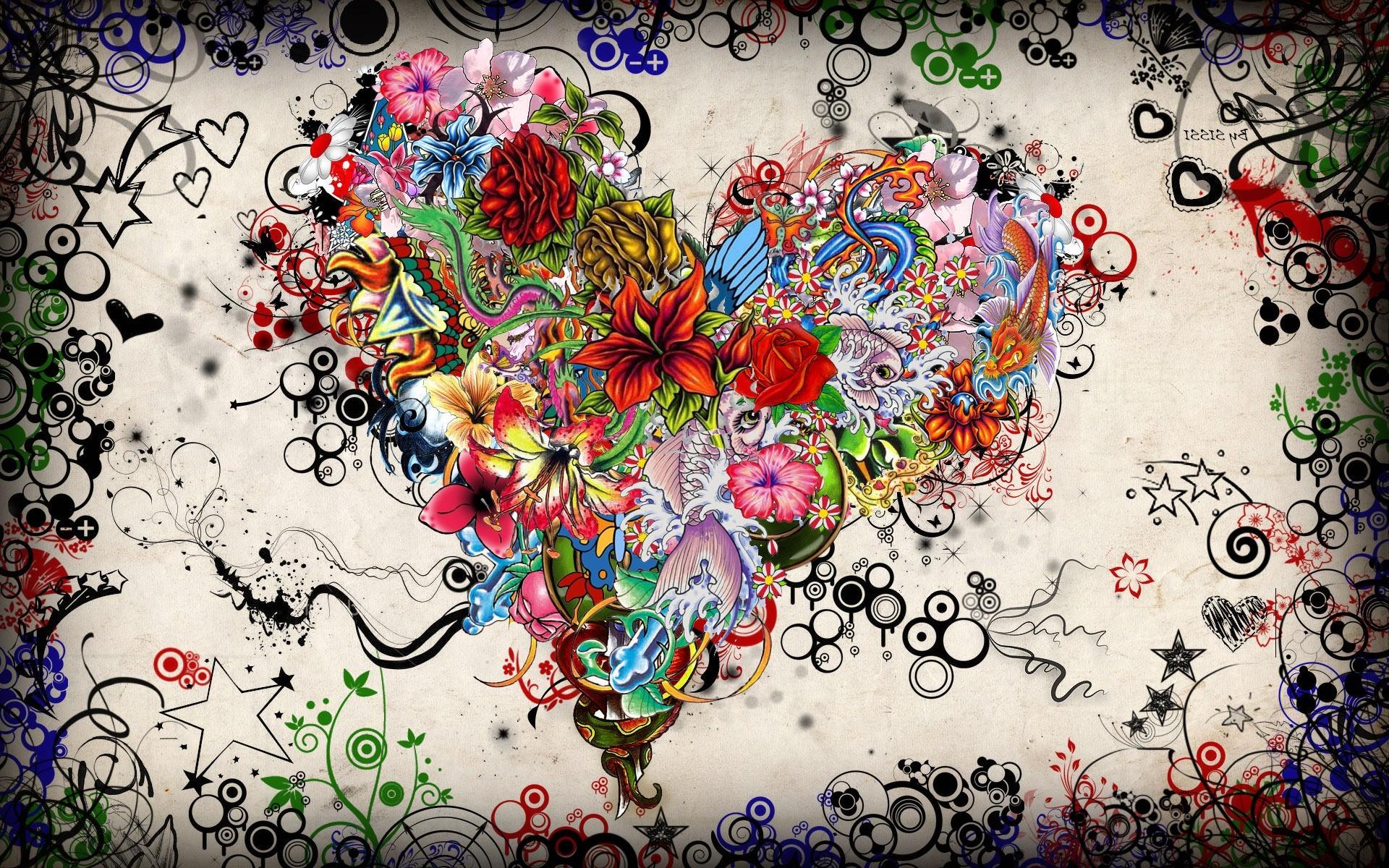wallpaper : 1920x1200 px, artwork, circle, colorful, fish, flowers