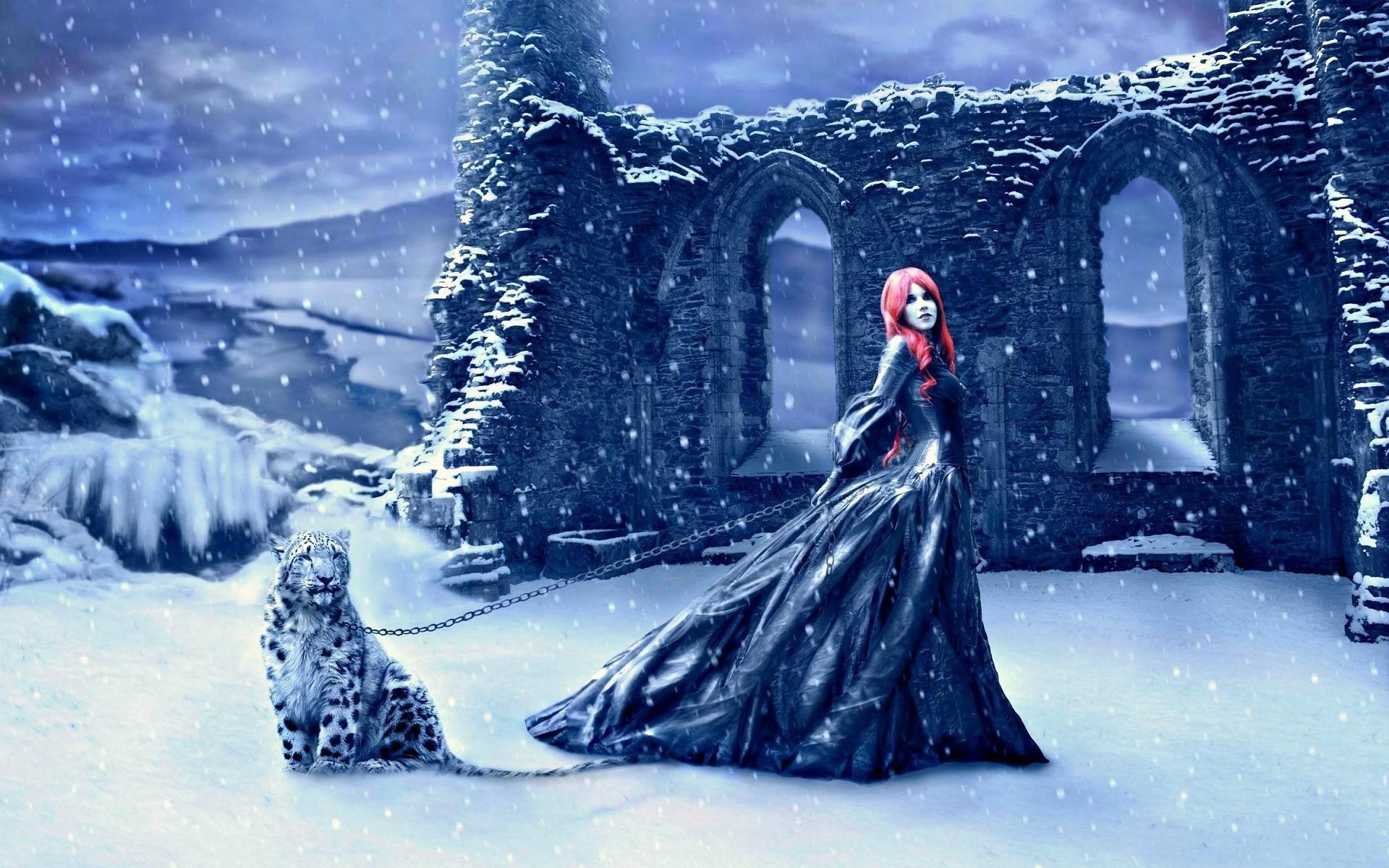 попытке лес зимой и сказка фэнтези фото помощью техники