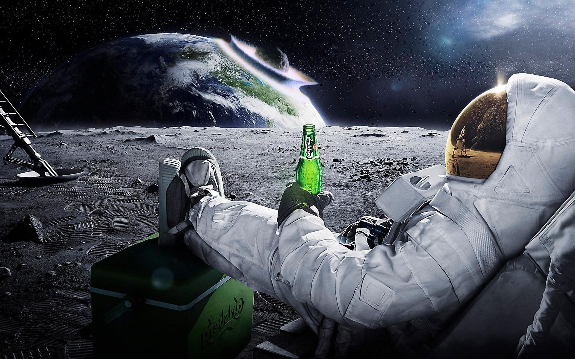 1920x1200 Px Astronaut Beer Carlsberg Earth Meteors Space