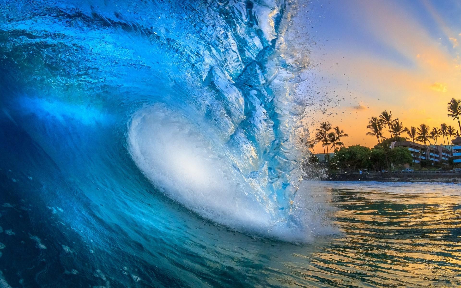 1920x1200 Px Beach Blue Building Hawaii Landscape Nature Palm Trees Sea Sun Rays Sunrise Water Waves