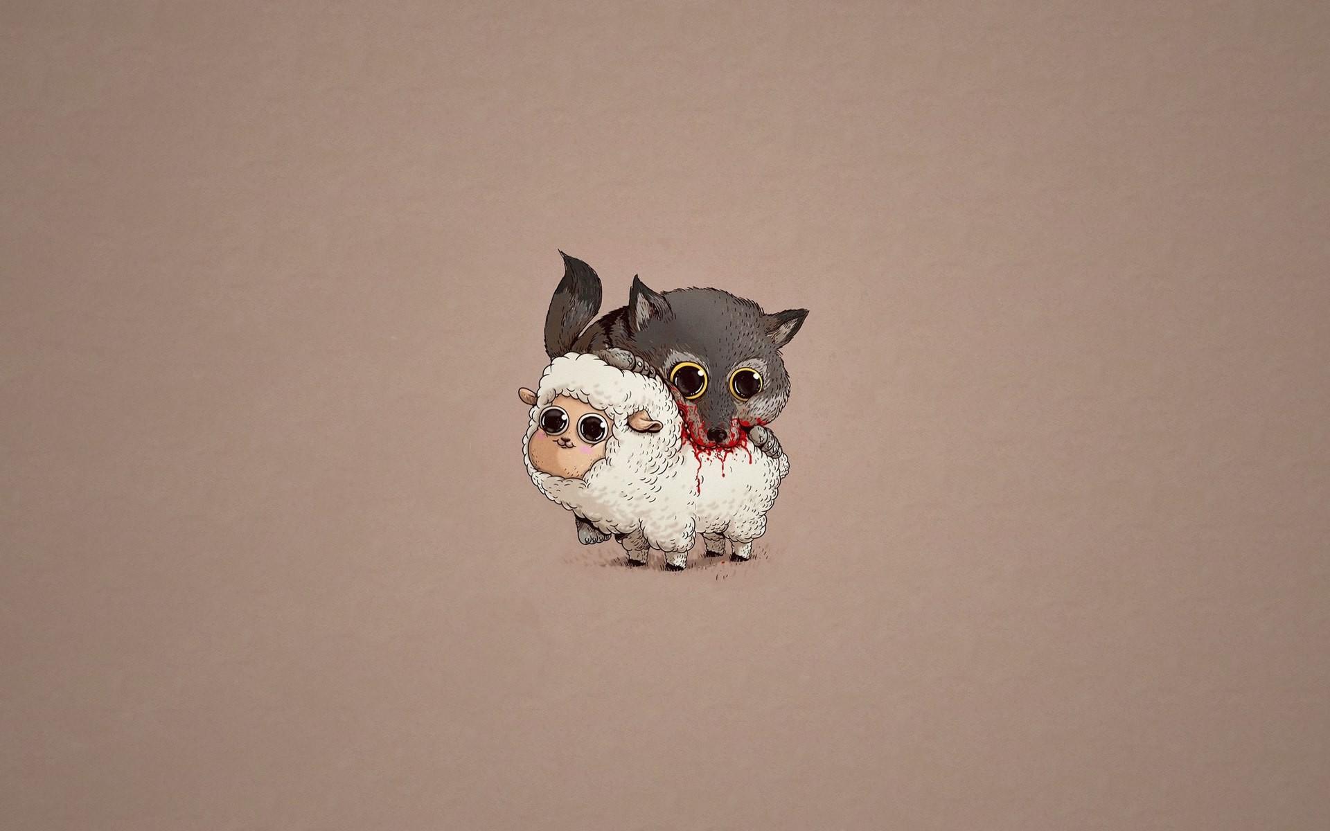 1920x1200 Px Blood Humor Minimalism Murder Sheep Wolf