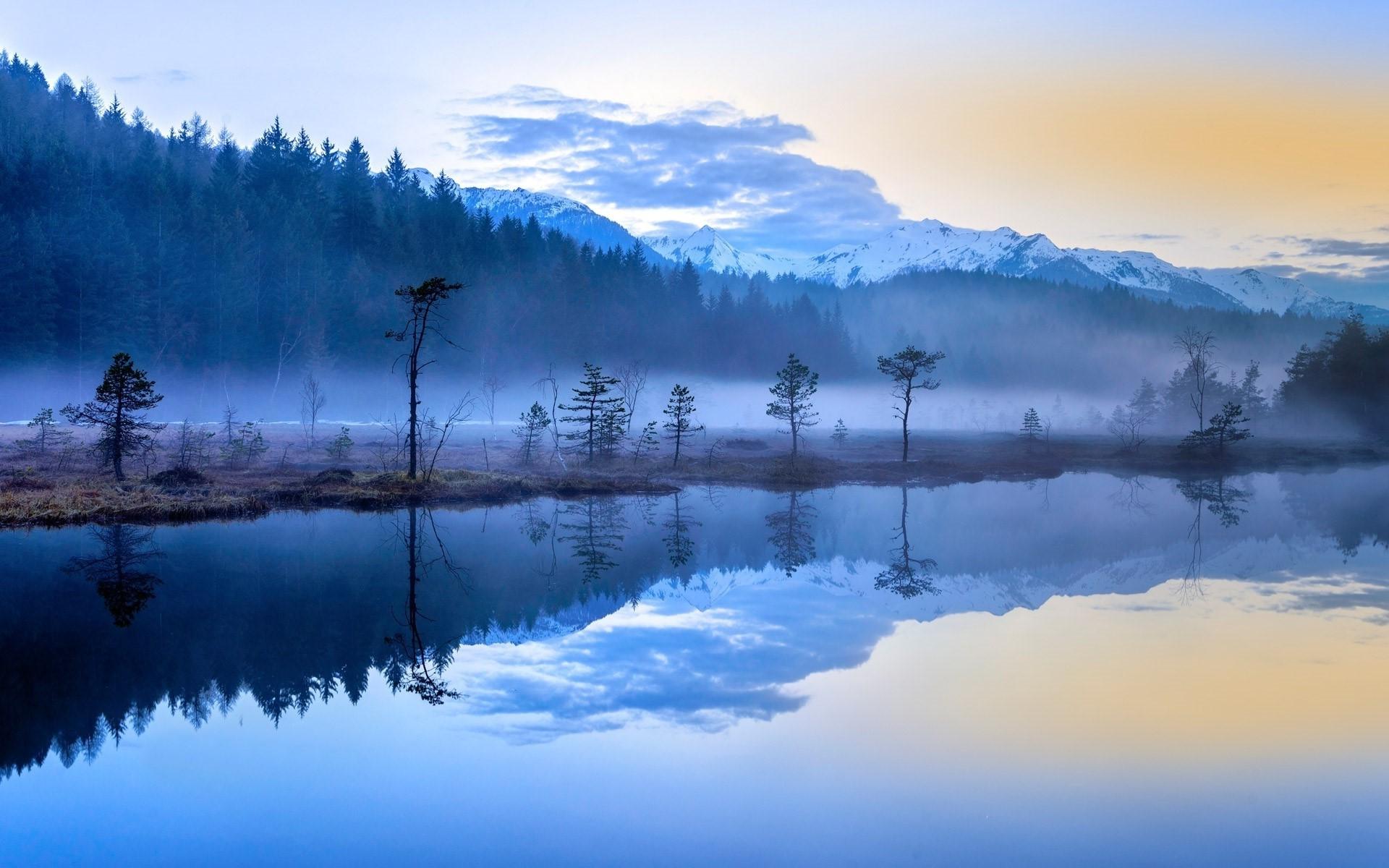 ноября обои туманные пейзажи лавочка для