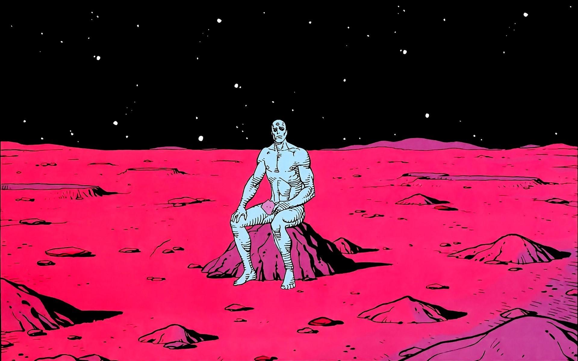 1920x1200 px comic books crater Dr Manhattan Mars space Watchmen