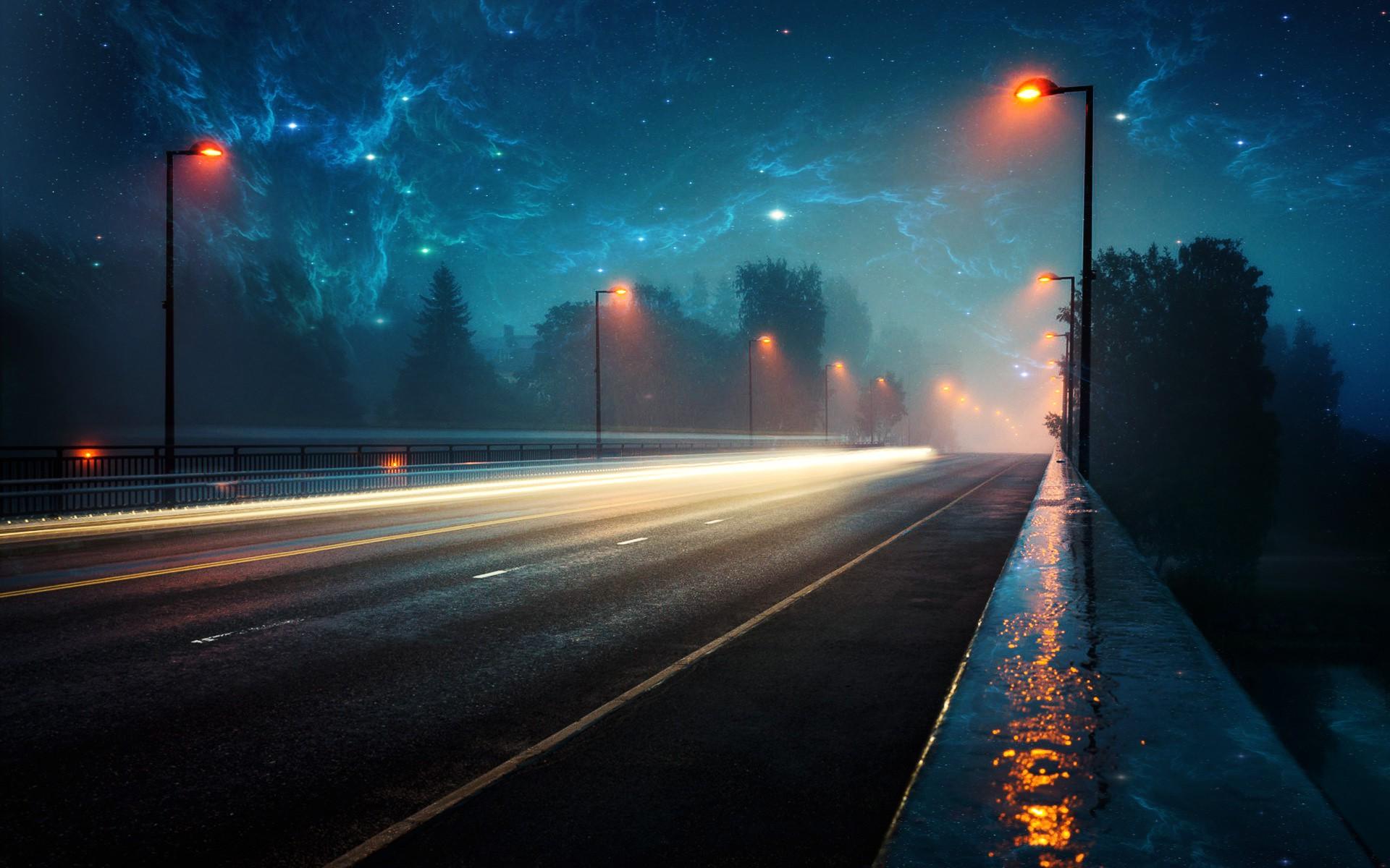 Wallpaper 1920x1200 px evening lighter lights nebula - Space wallpaper road ...