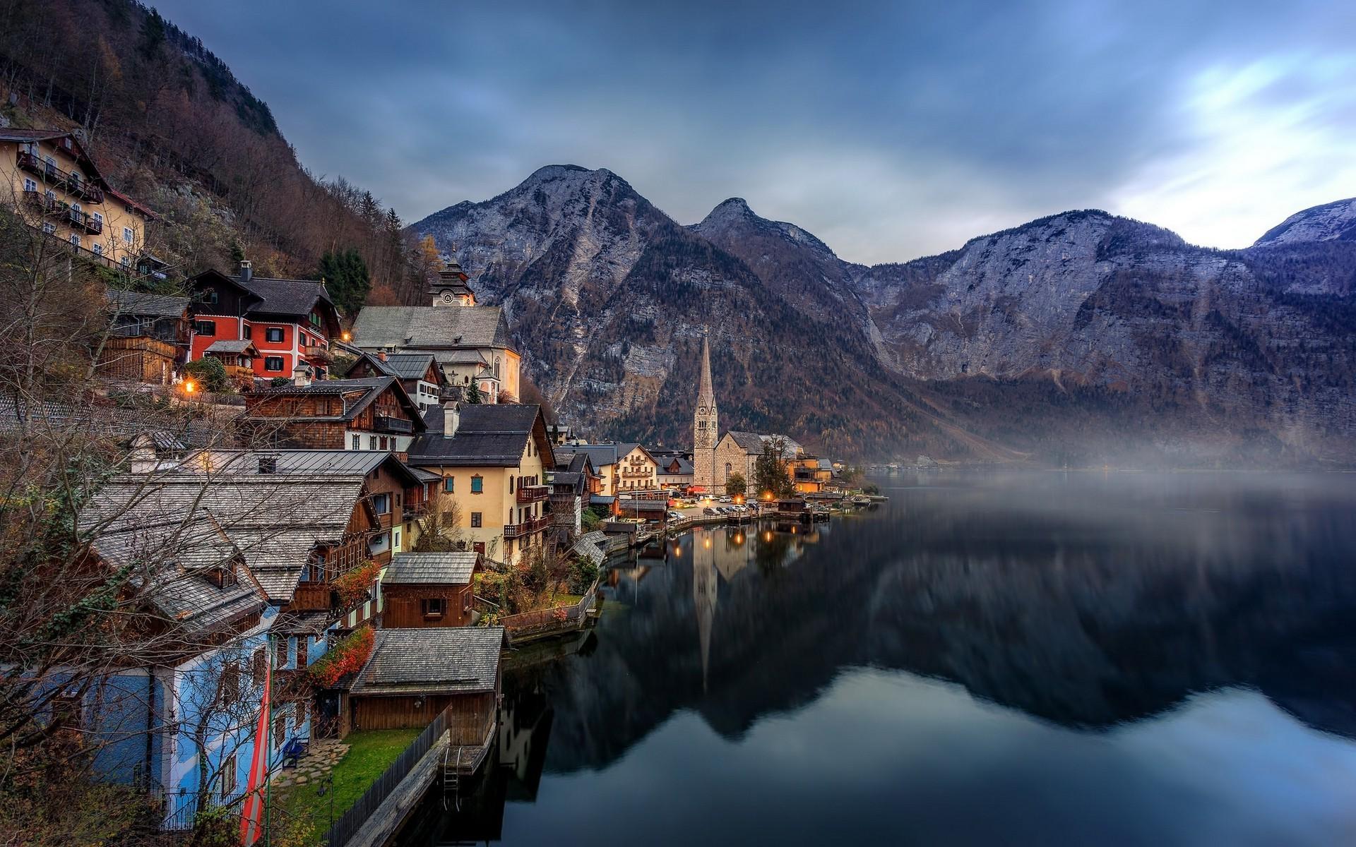 1920x1200 px lake landscape mountain reflection town