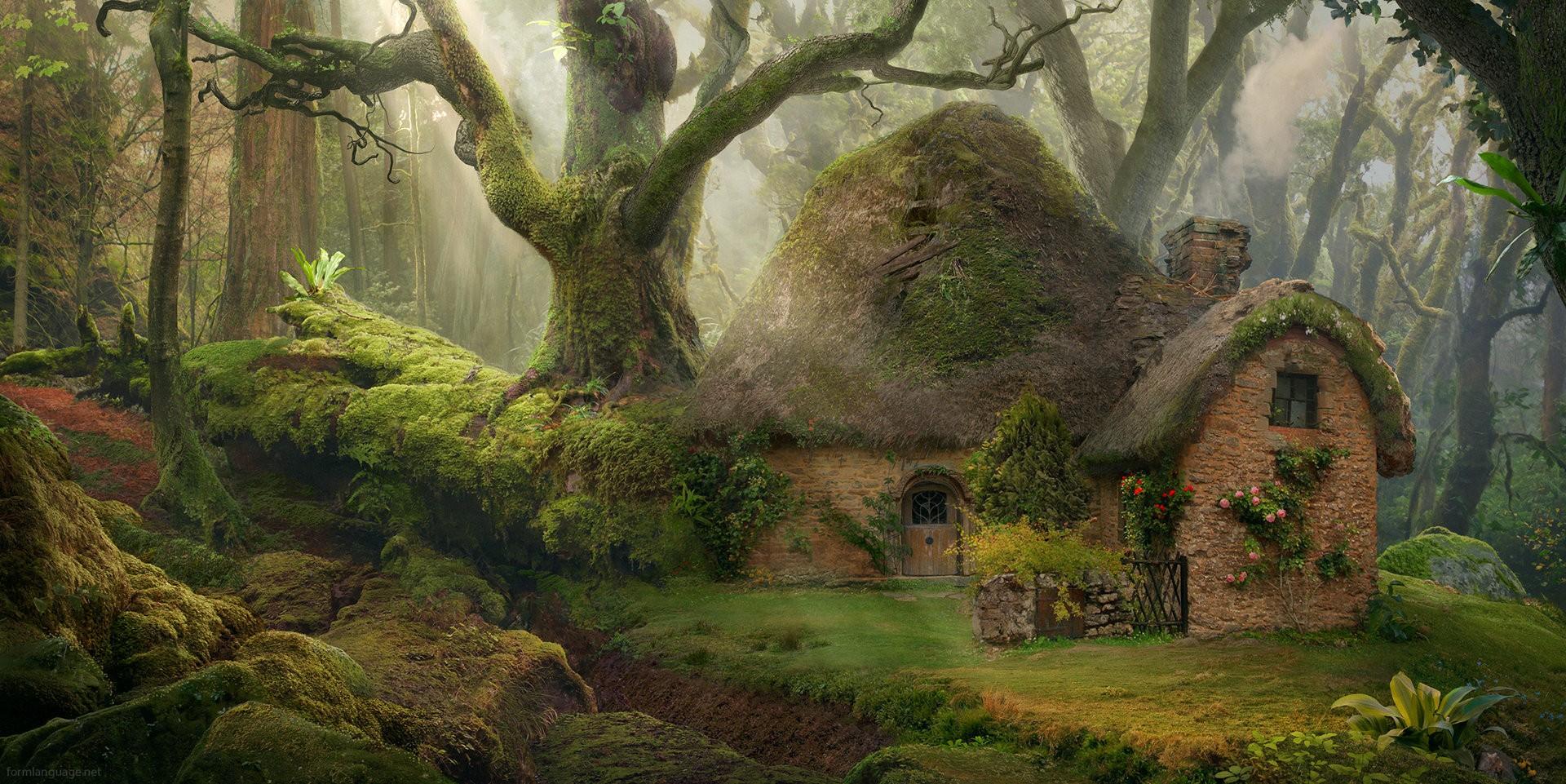 Картинки сказочного домика в сказочном лесу