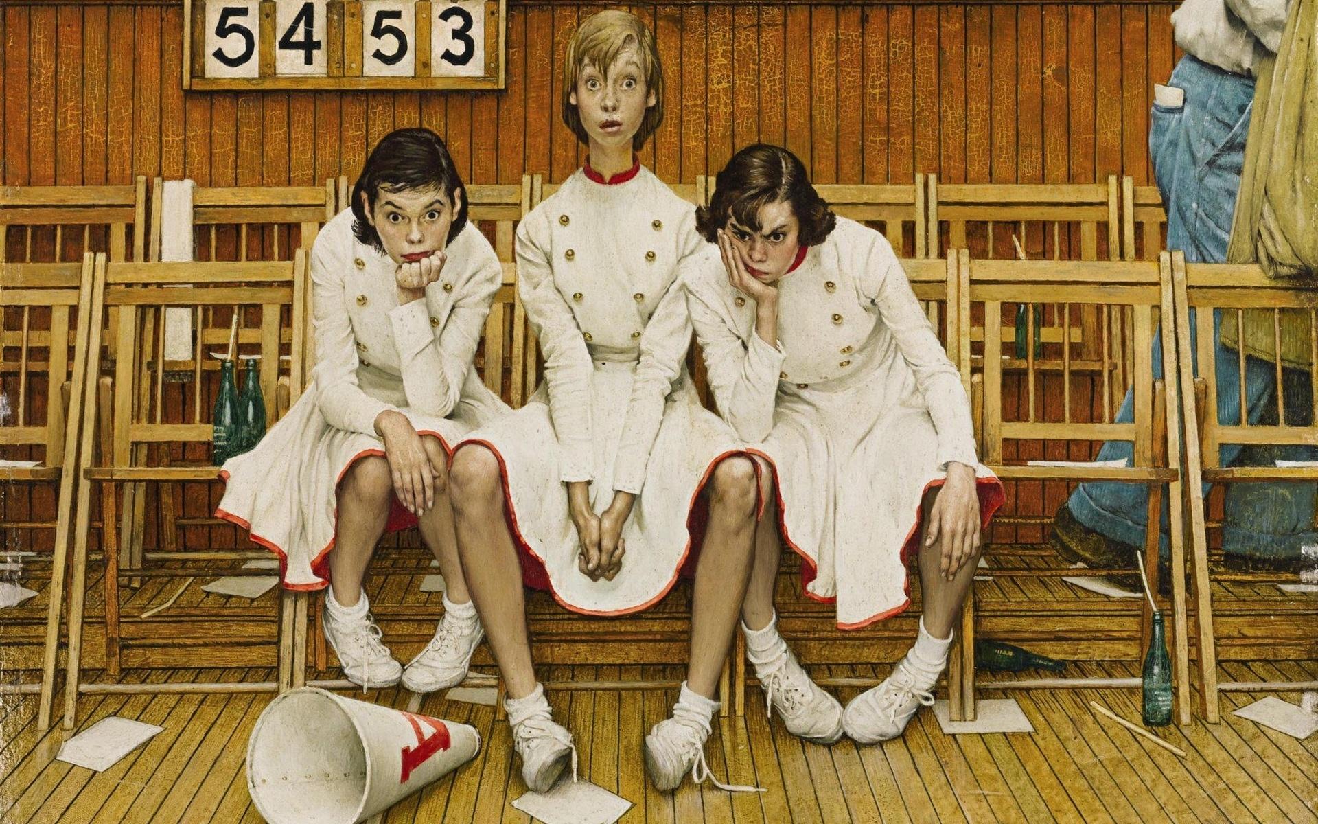 デスクトップ壁紙 1952 Year アートワーク 女性のグループ