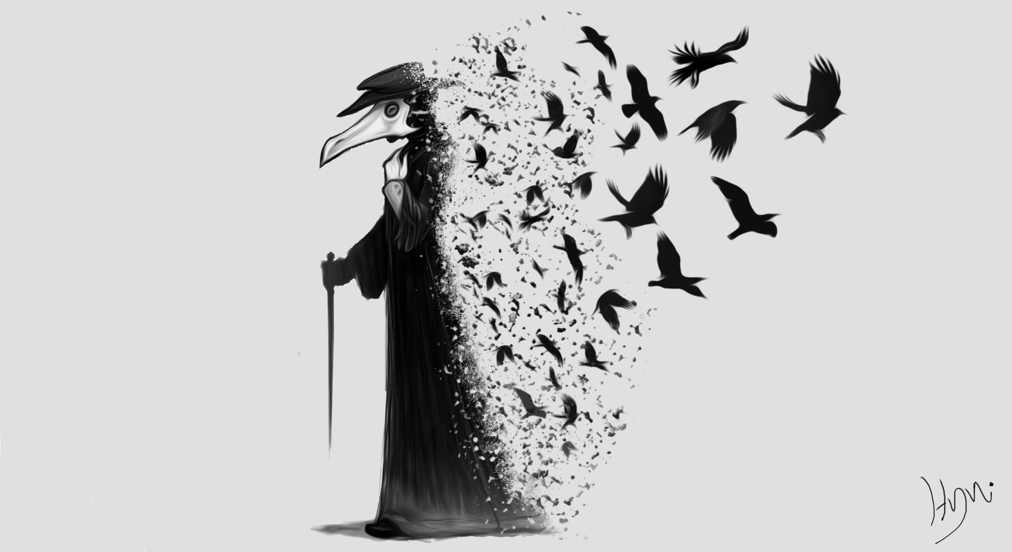 1980x1080 Px Black Crow Dark Plague Doctors Raven The Darkness