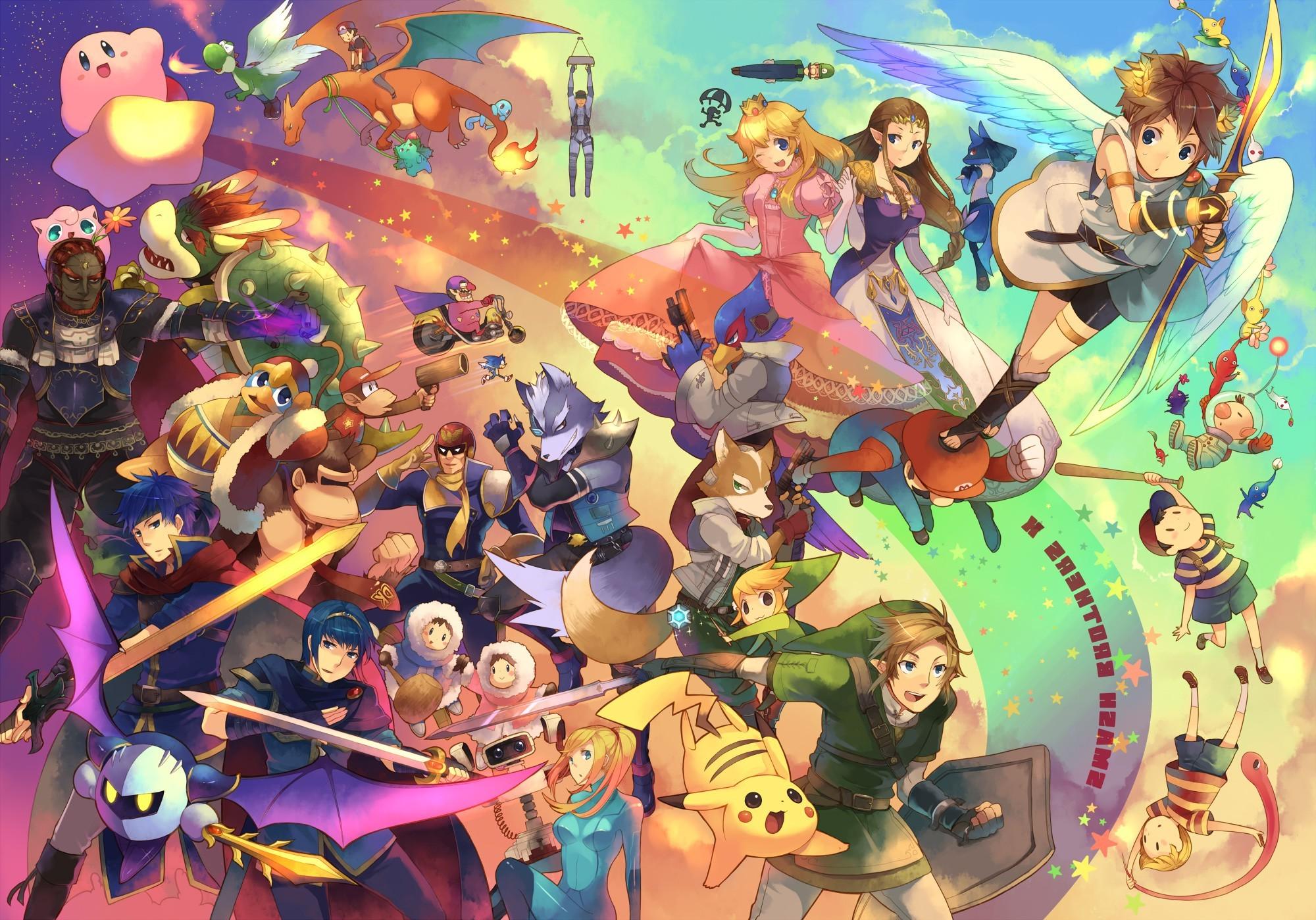 Cool Wallpaper Logo Super Smash Bro - 2000x1399-px-bowser-Falco-Fox-McCloud-Link-Marth-Nintendo-Pikachu-Princess-Peach-Samus-Aran-Super-Smash-Brothers-video-games-Zelda-1062662  Pic_194491.jpg