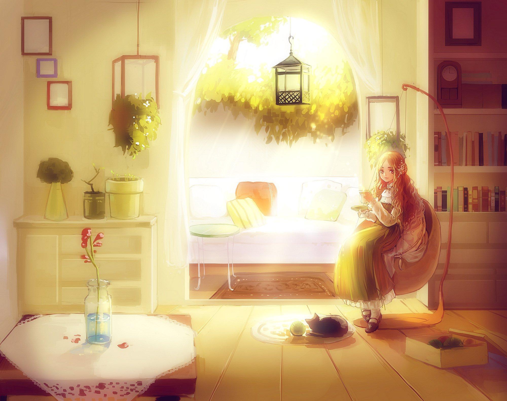 Картинка комнаты с человеком и солнцем