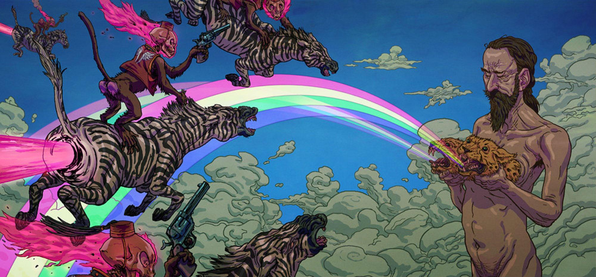 2000x931 px dark fantasy hippie monkey psychedelic skull zebra