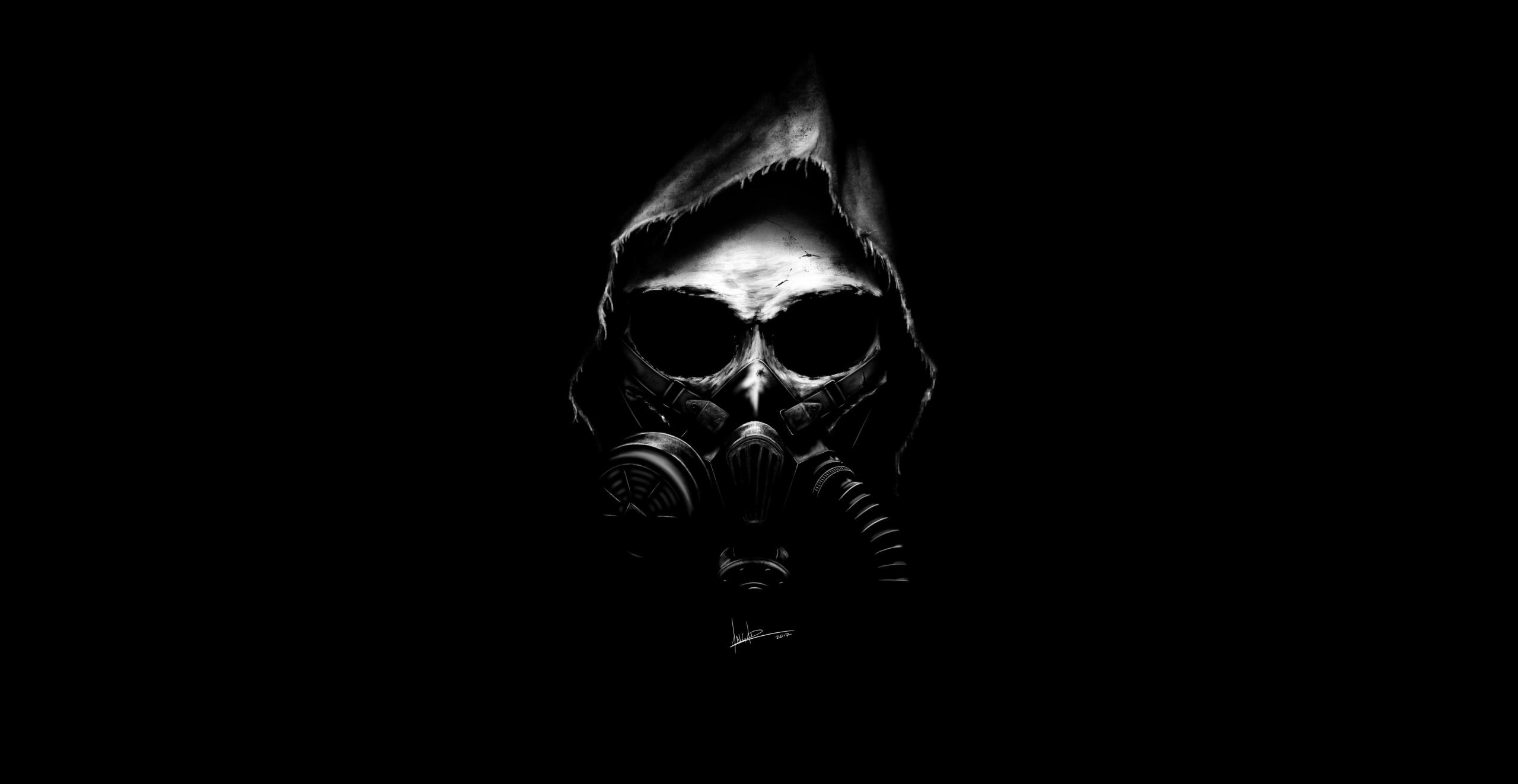 Wallpaper 2017 Year Skull Dark Artwork Gas Masks