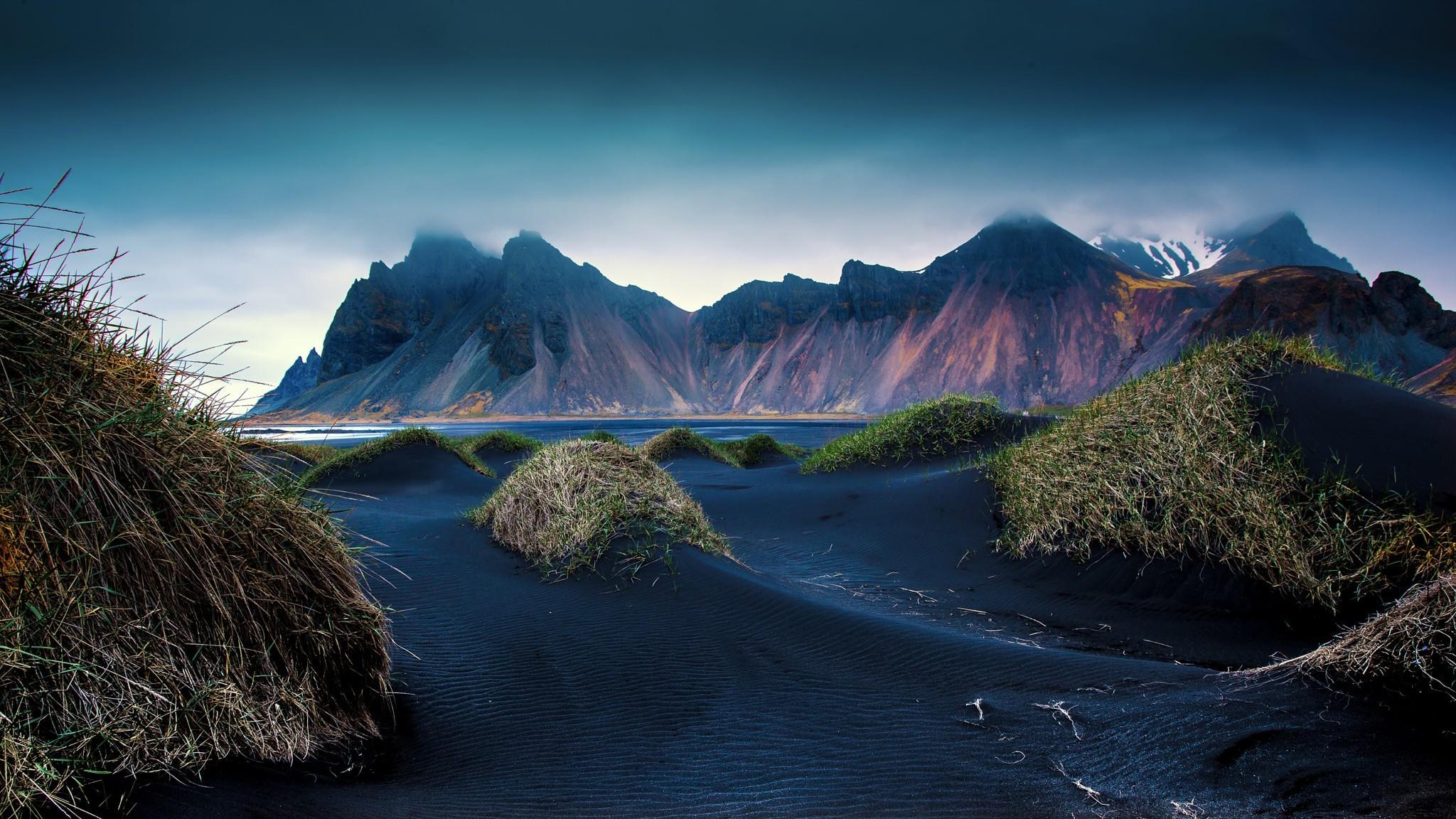 Cool Wallpaper Mountain Beach - 2048x1152-px-beach-black-cliff-clouds-dune-grass-Iceland-landscape-mountain-nature-sand-1077191  Photograph_735223.jpg
