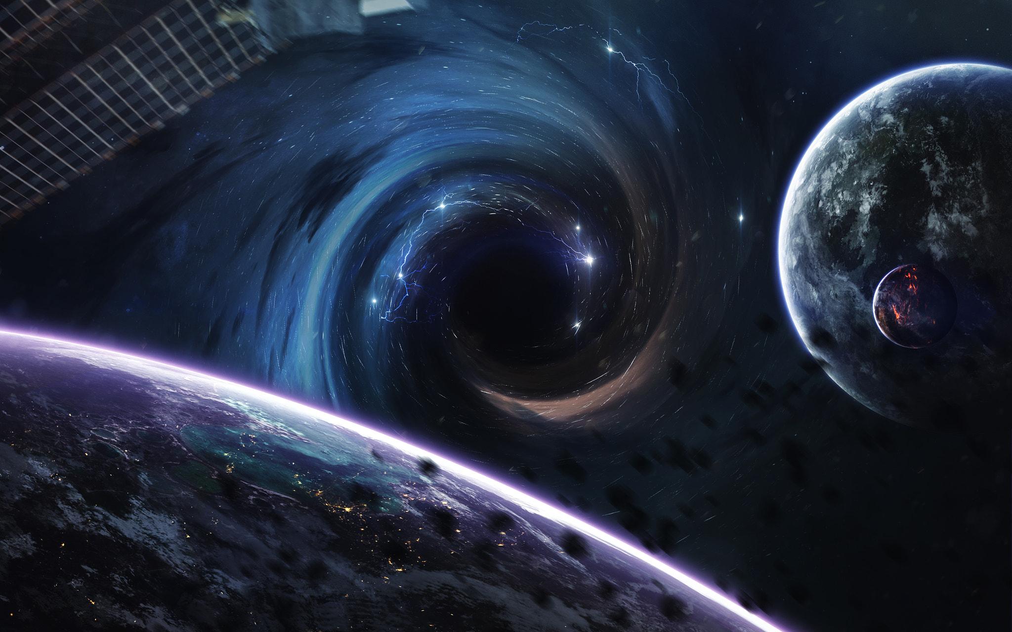 Hintergrundbilder 2048x1280 Px Black Hole Abstract Space