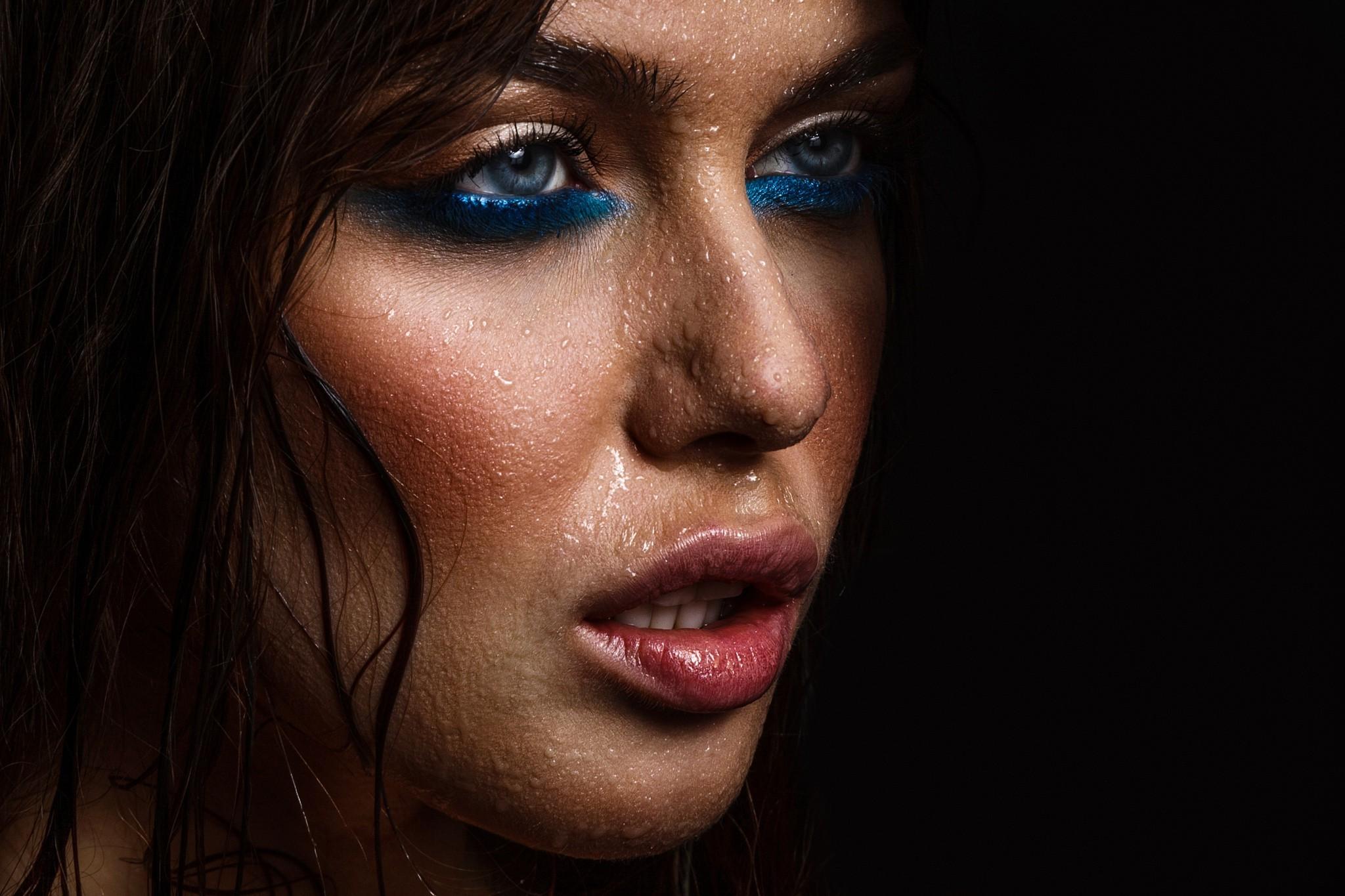 Wallpaper 2048x1365 Px Black Background Blue Eyes Closeup Face