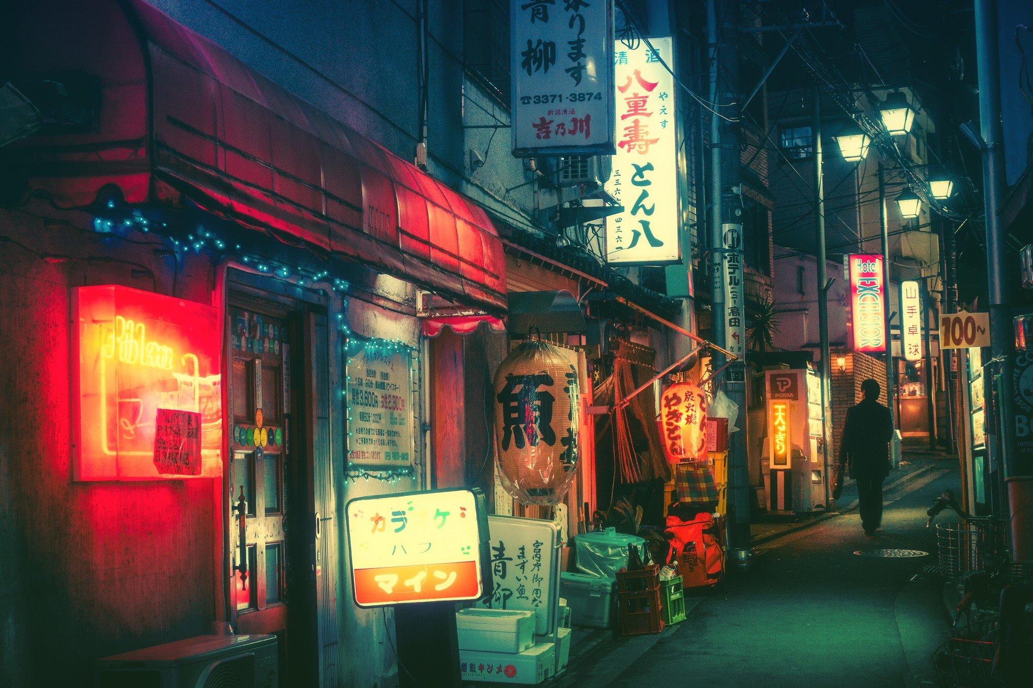Обои ночь, Япония. Города foto 6