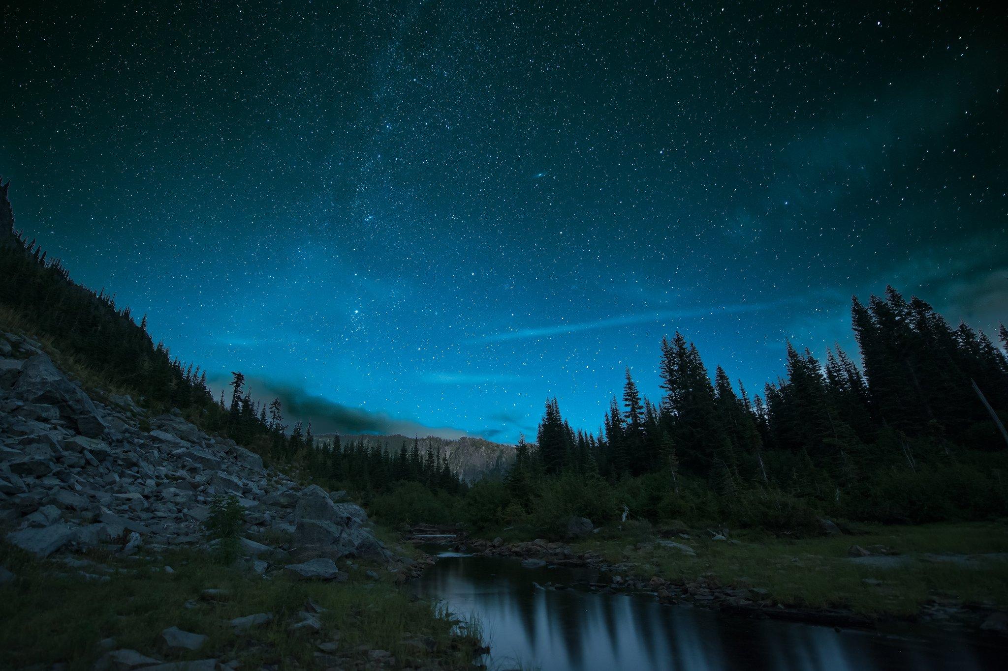 2048x1365 px galaxy milky night rock sky space stars wallpaper 1733679