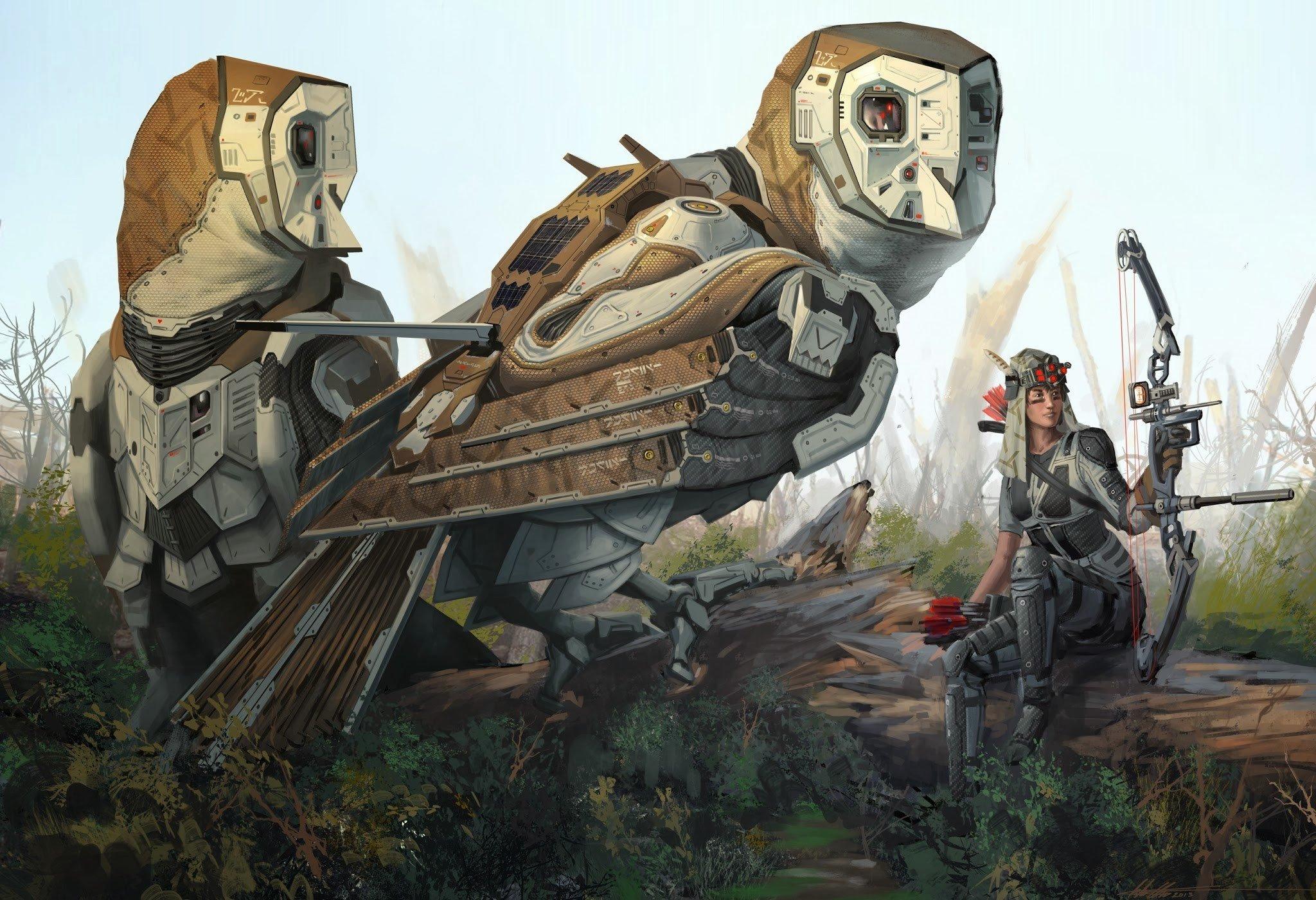 Wallpaper 2048x1401 Px Busur Futuristik Burung Hantu Robot