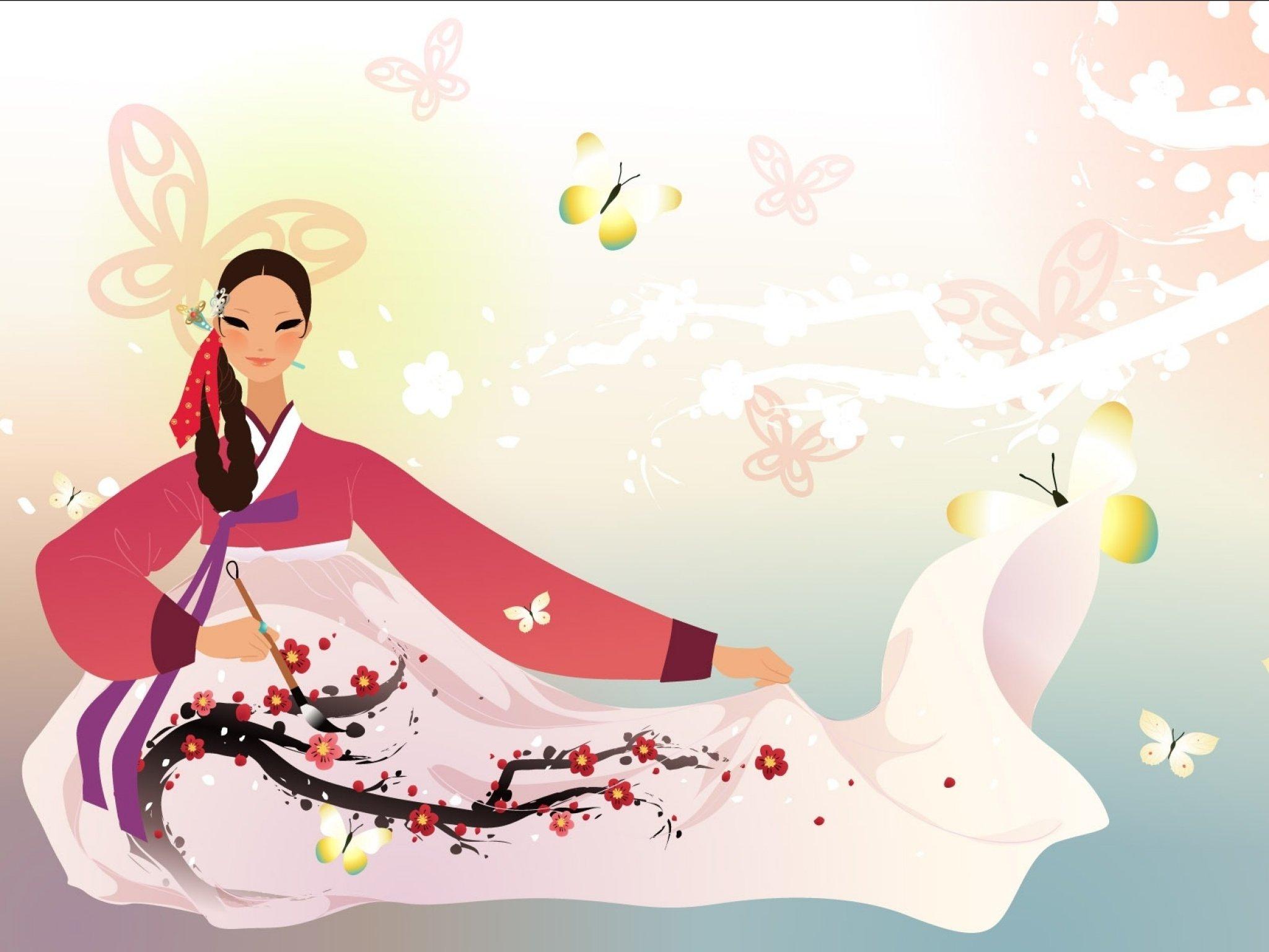 Корейская открытка, анимационные картинки
