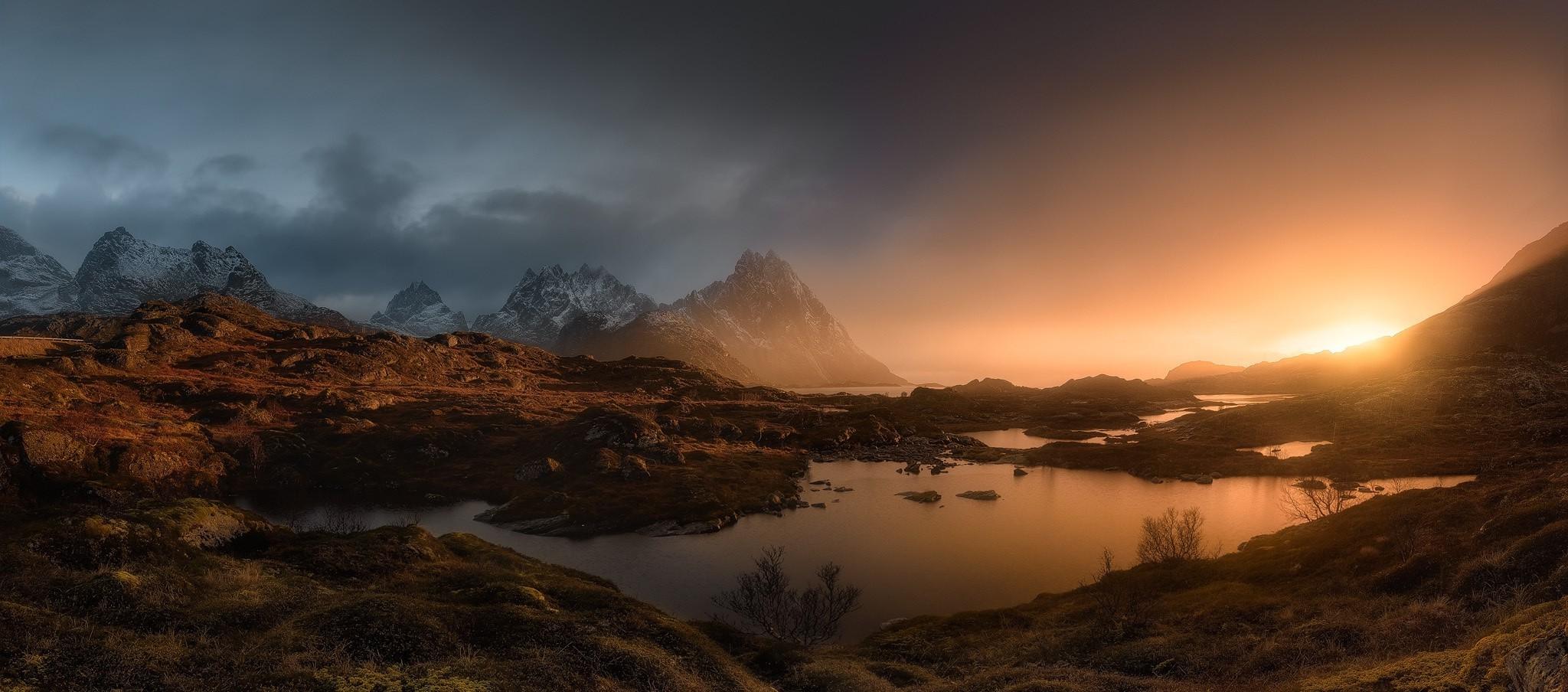 2048x904 Px Clouds Landscape Lofoten Islands Mist Mountain Nature Norway Panoramas Pond Shrubs Snowy Peak Sunrise